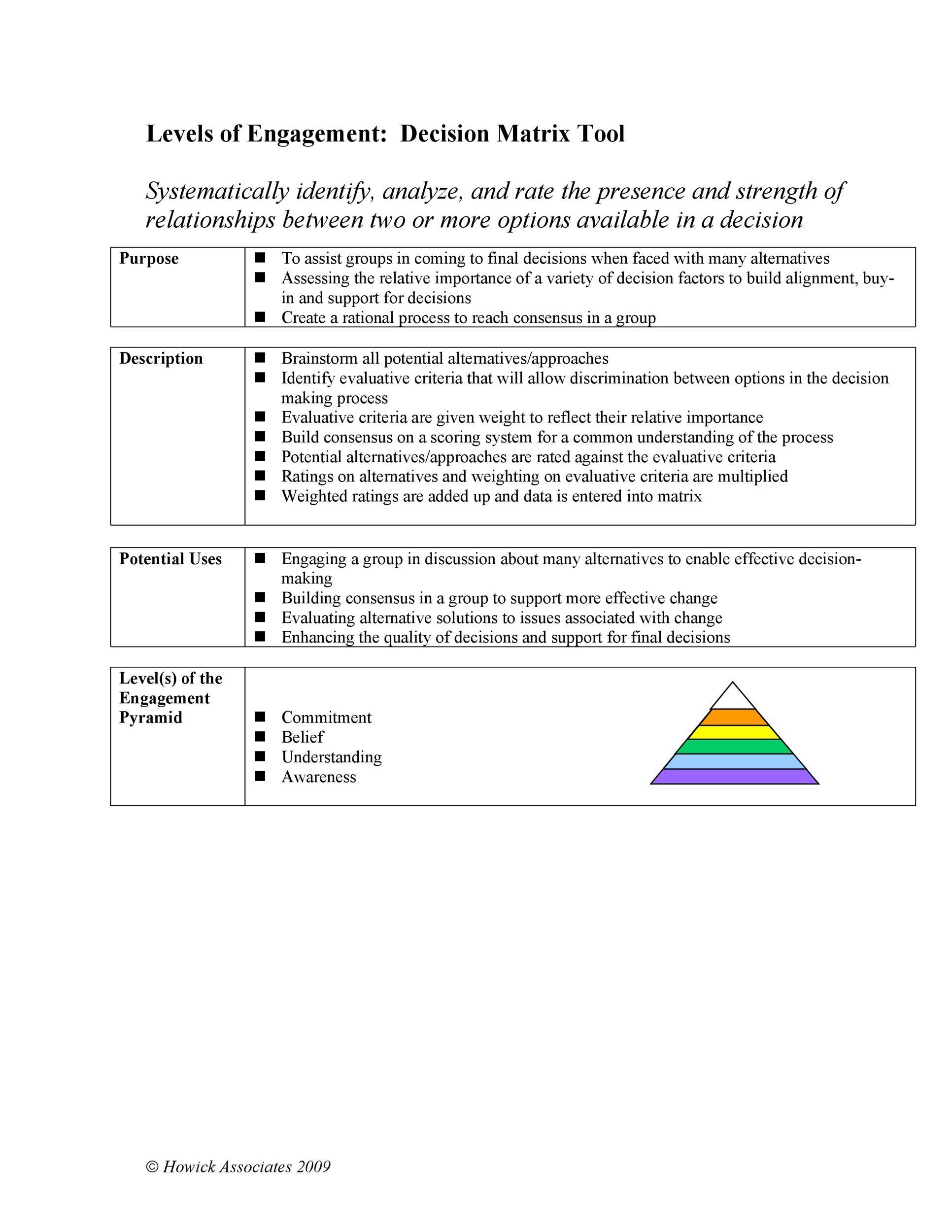 Free decision matrix template 13