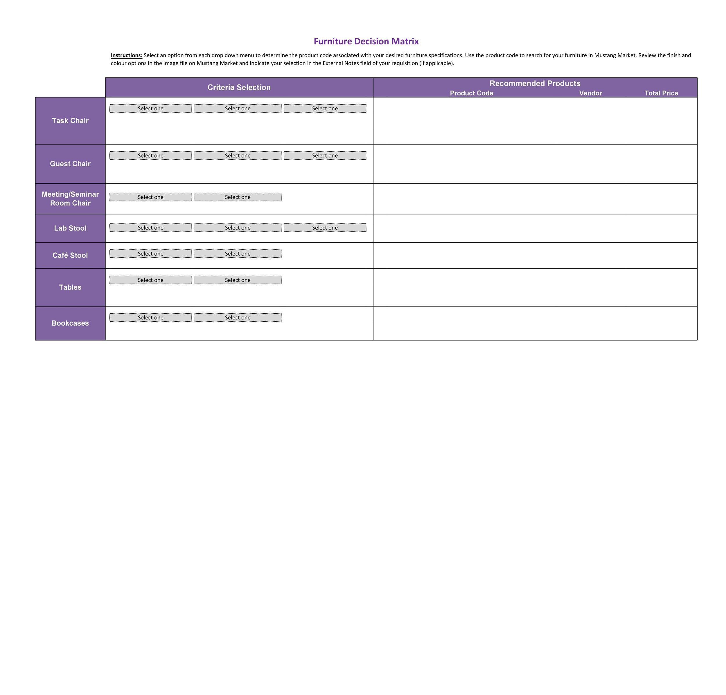 Free decision matrix template 20