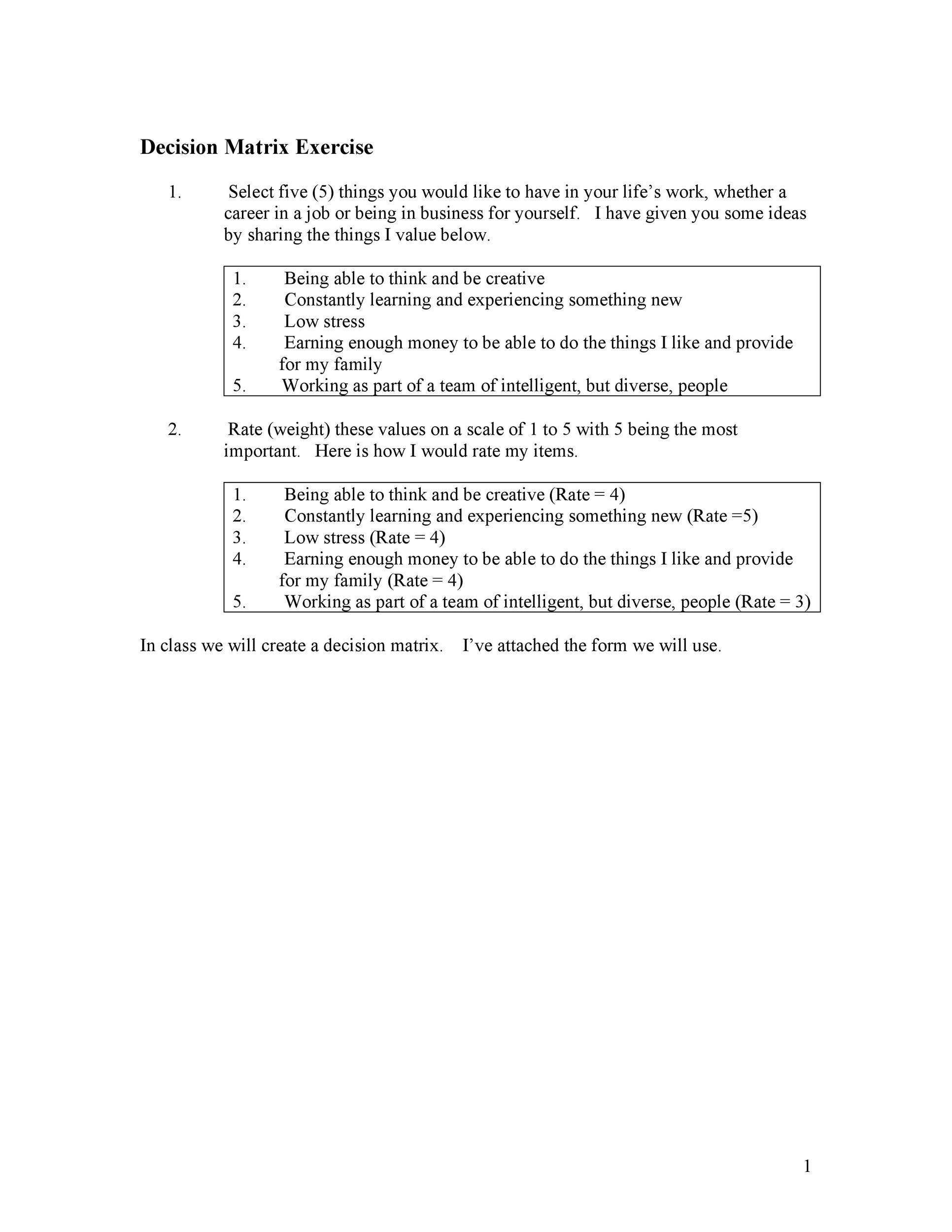 Free decision matrix template 25