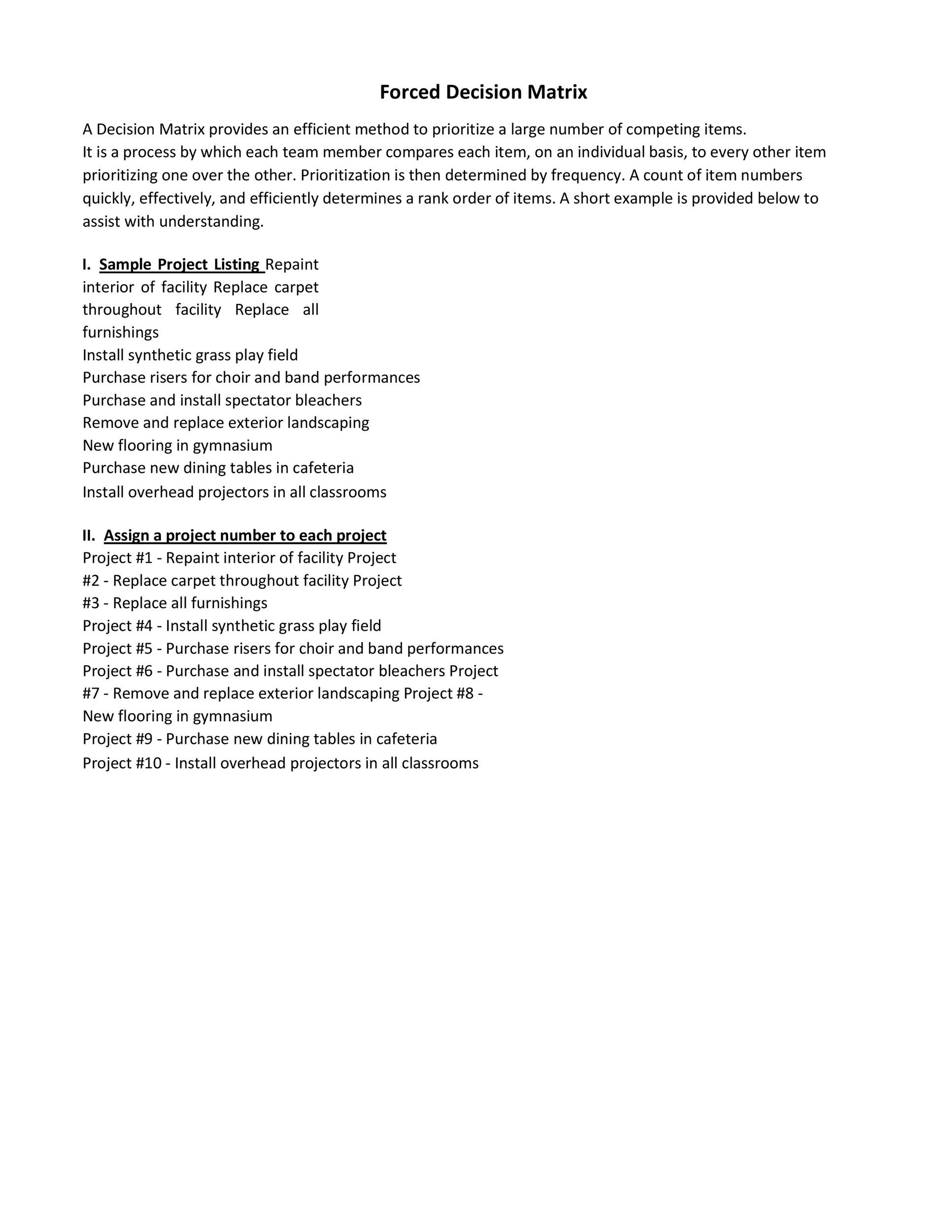 Free decision matrix template 49