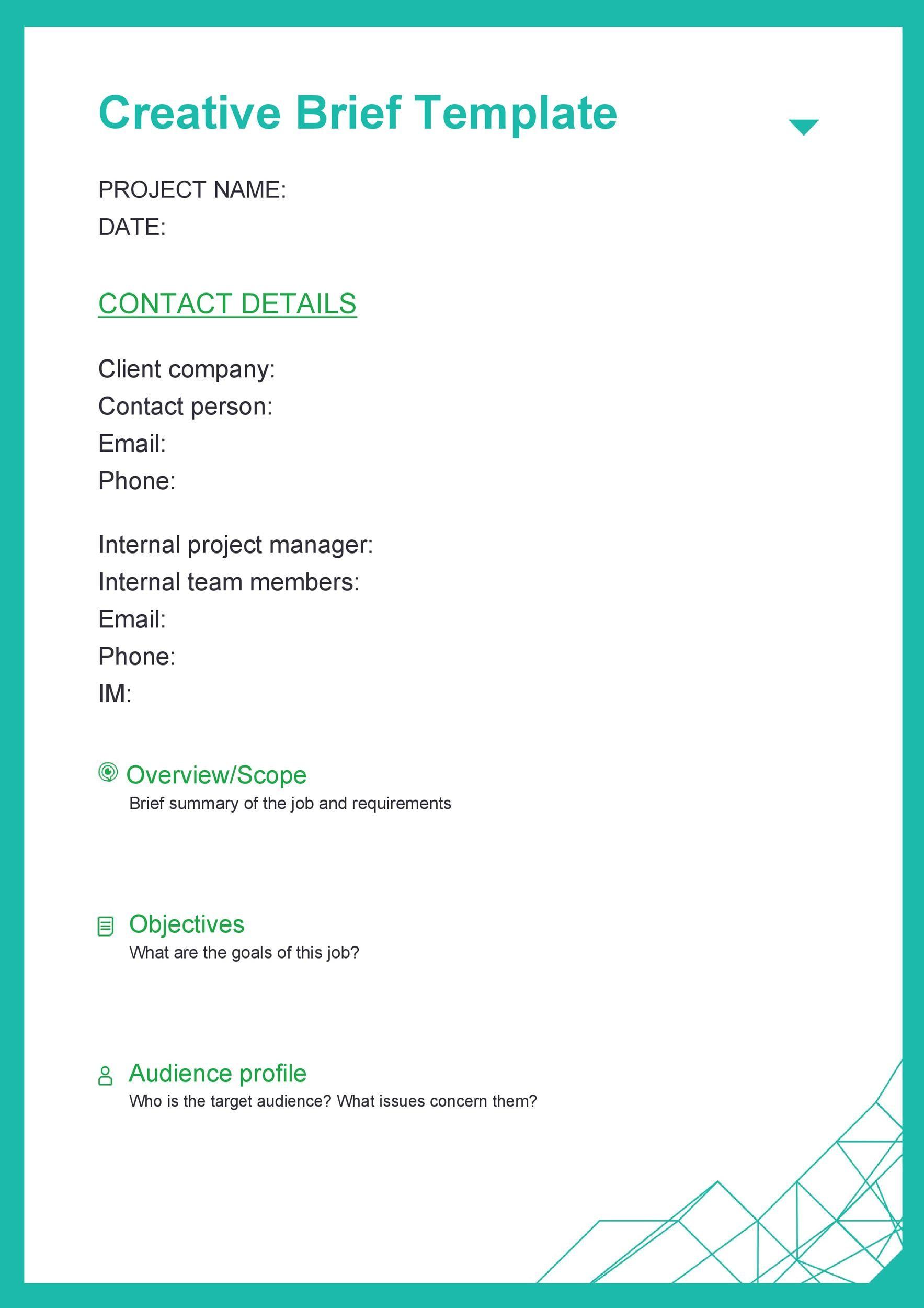 Free design brief template 08