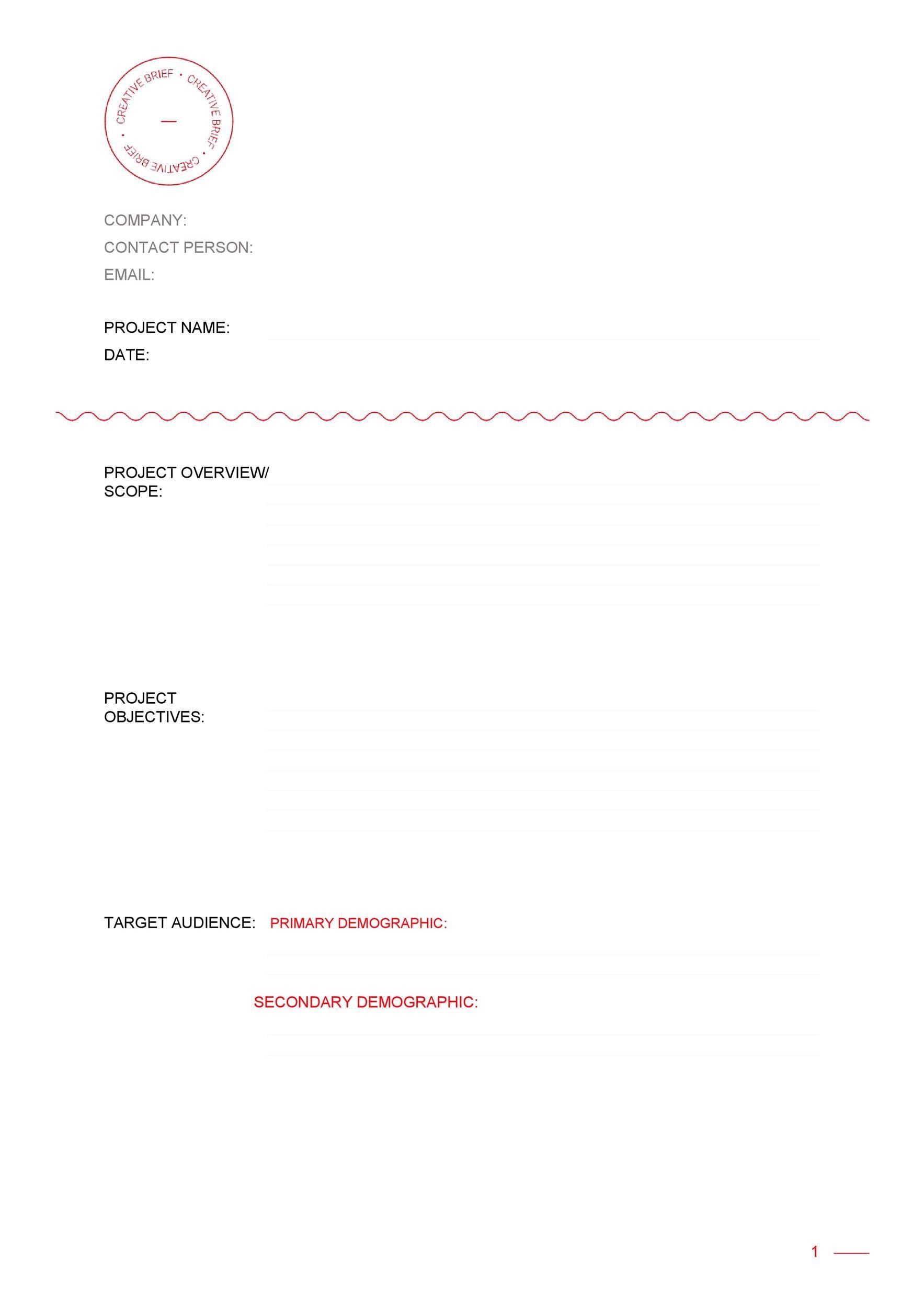 Free design brief template 10