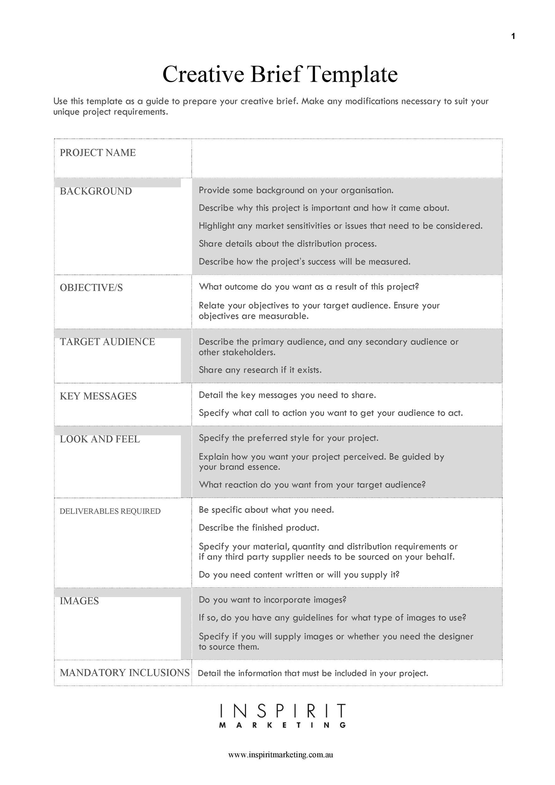 Free design brief template 11
