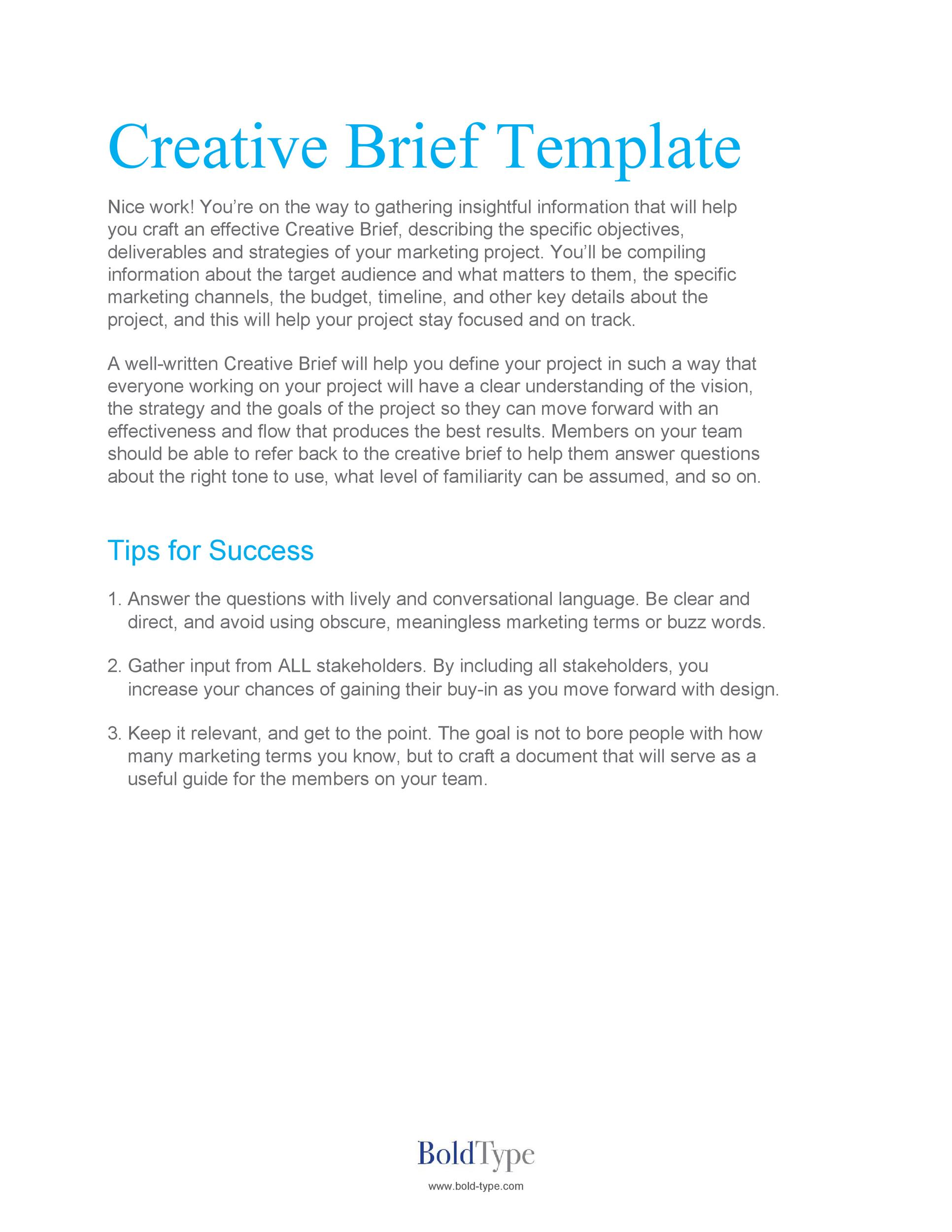 Free design brief template 13