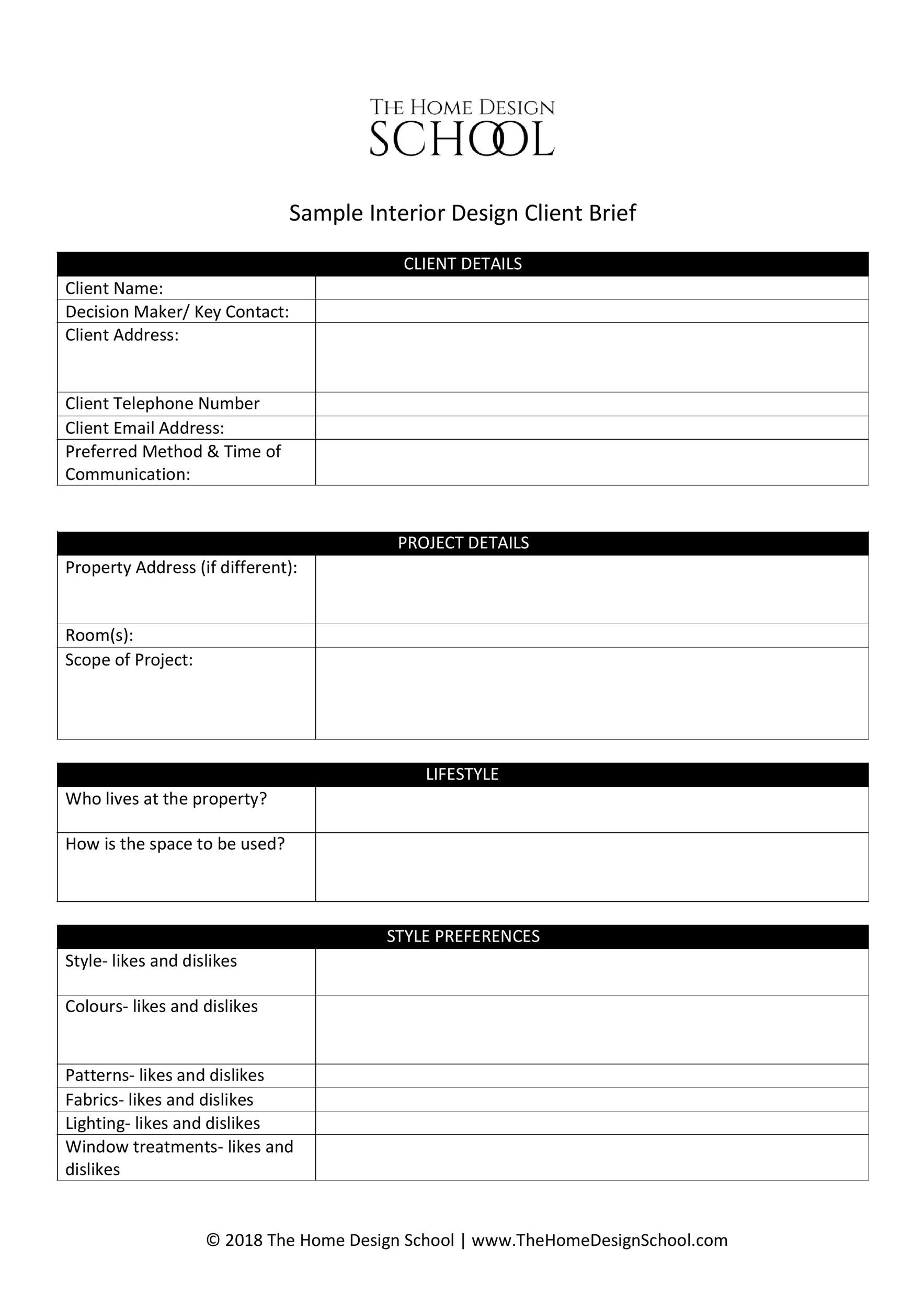 Free design brief template 14