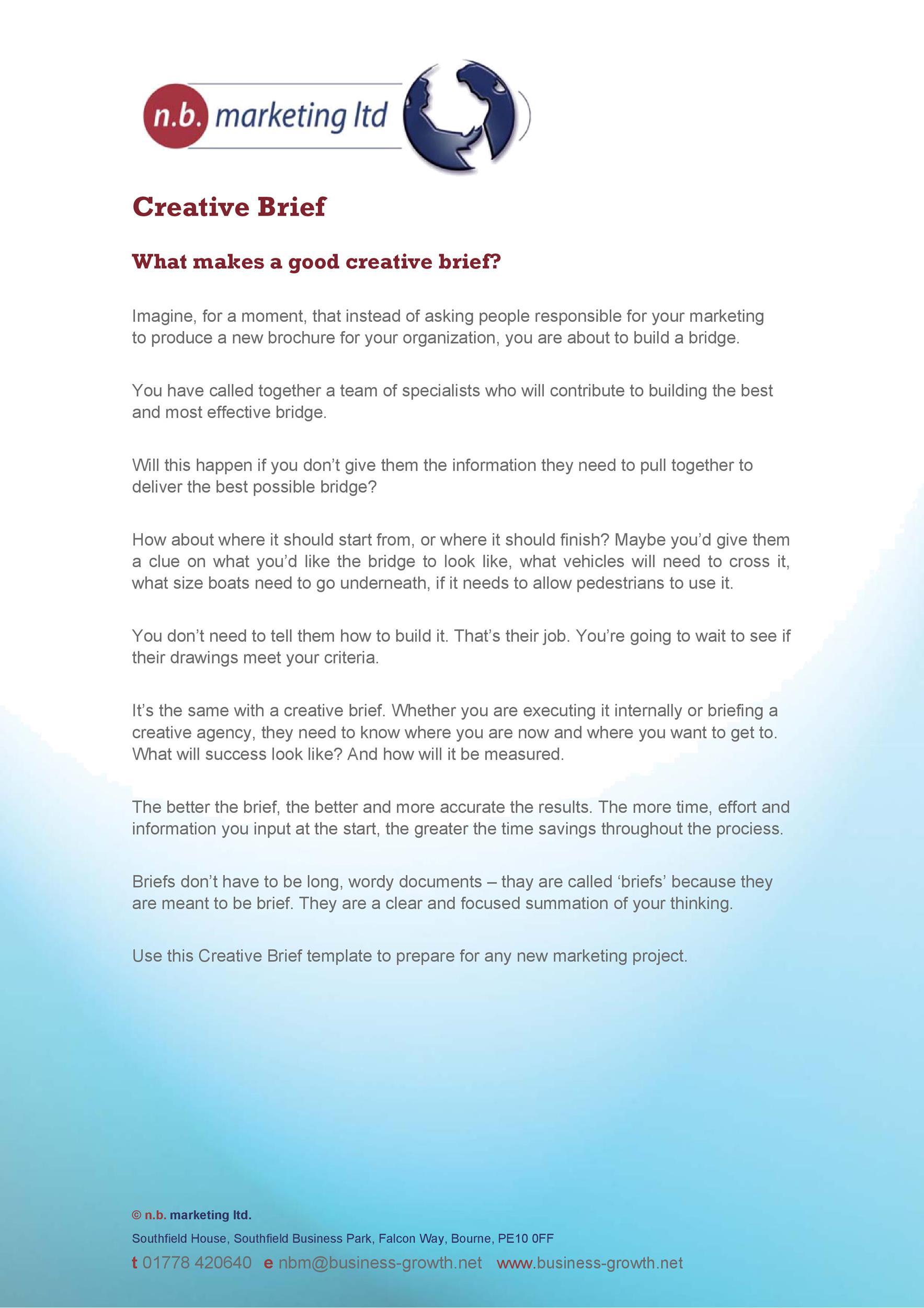 Free design brief template 16