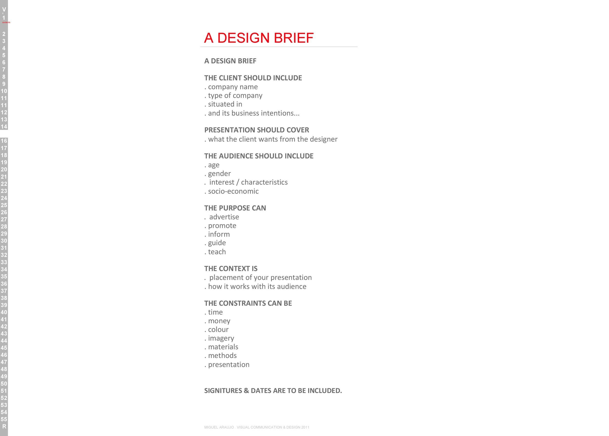 Free design brief template 20