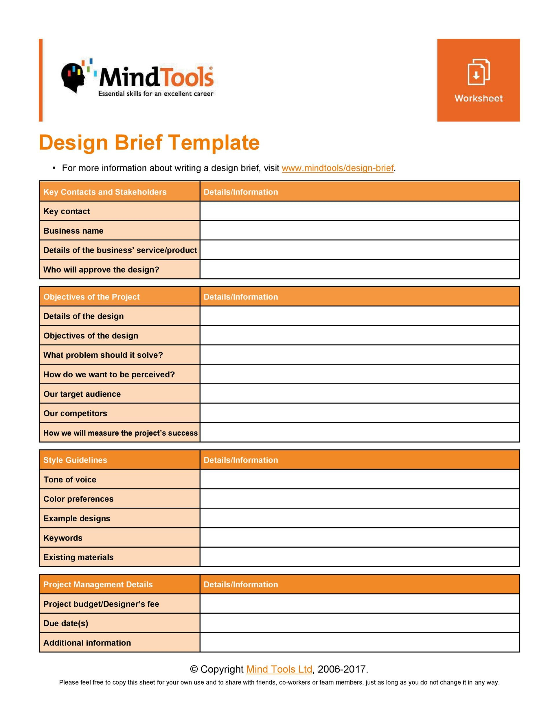 Free design brief template 22