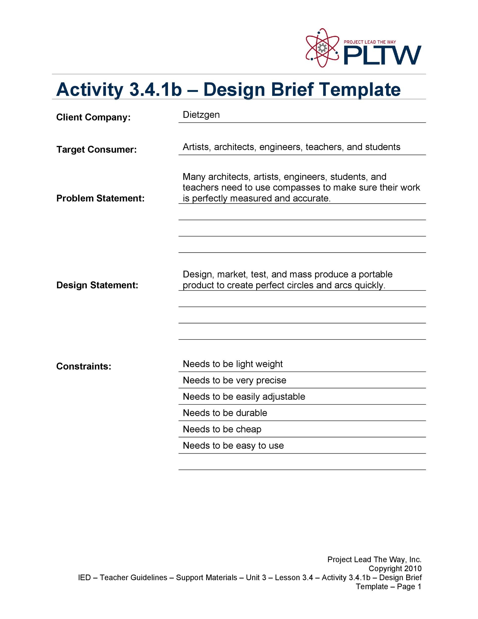 Free design brief template 23