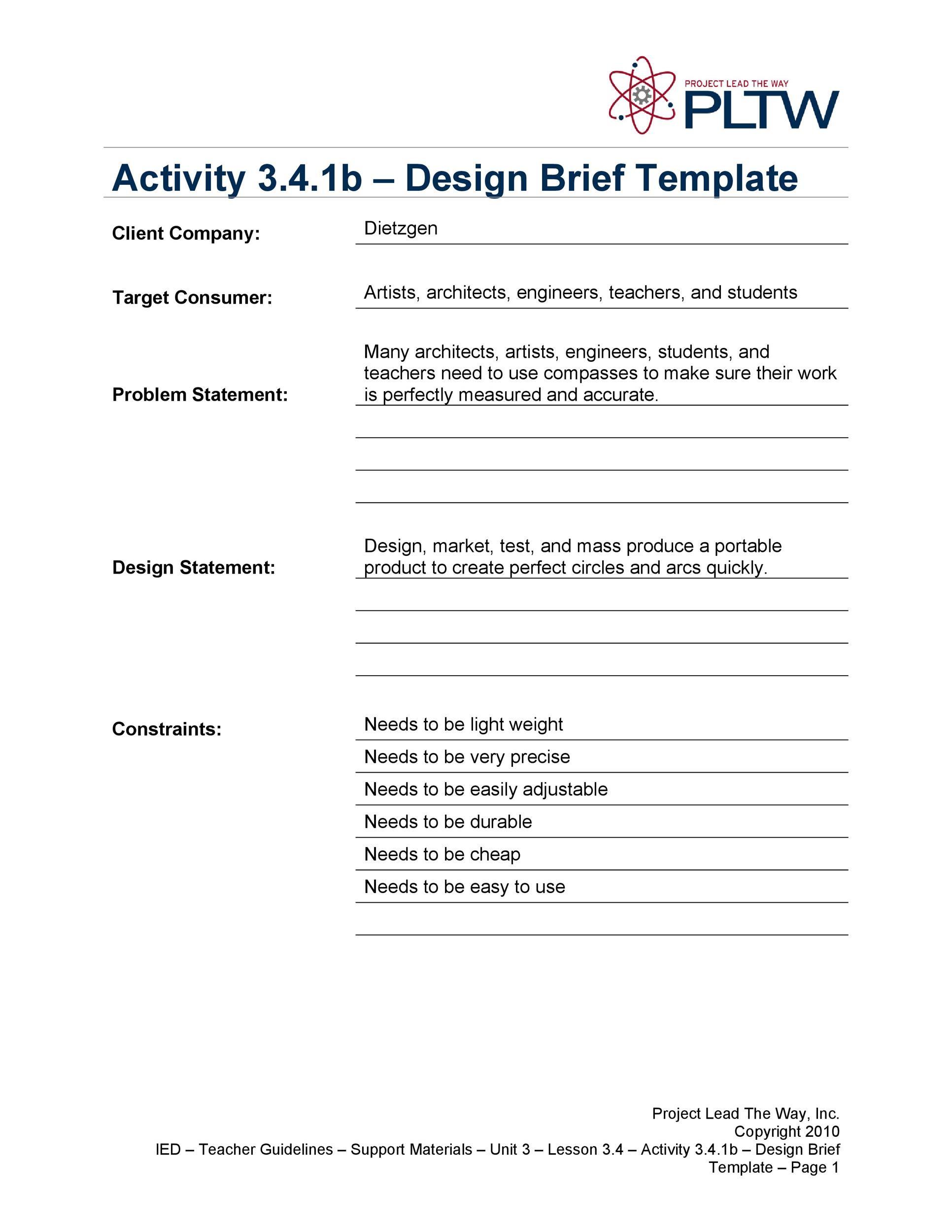 Free design brief template 23