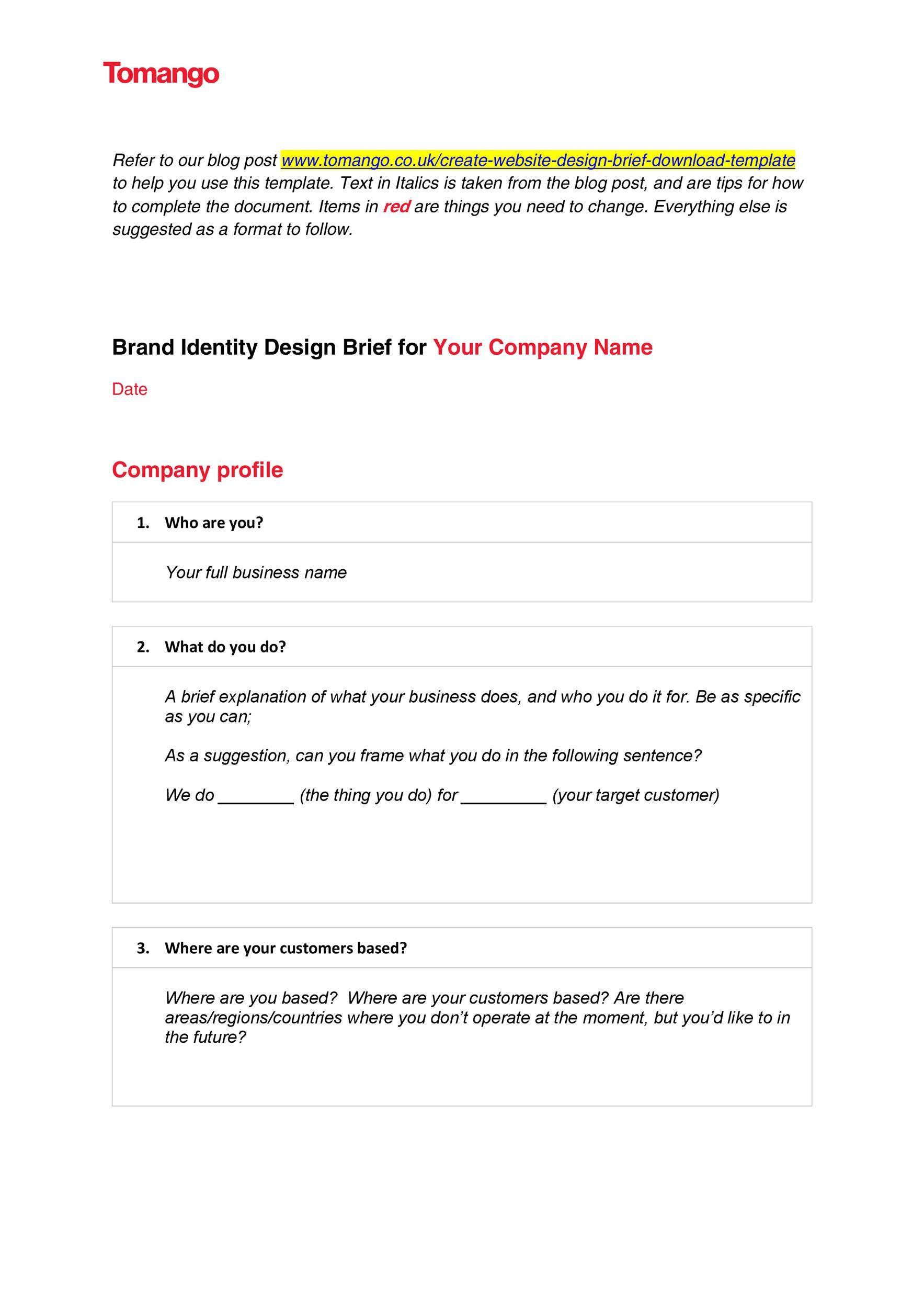 Free design brief template 25