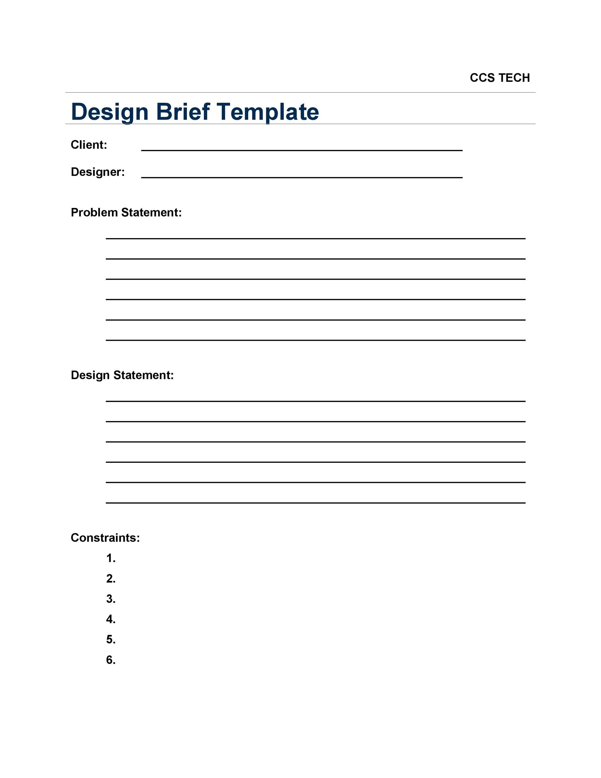 Free design brief template 26