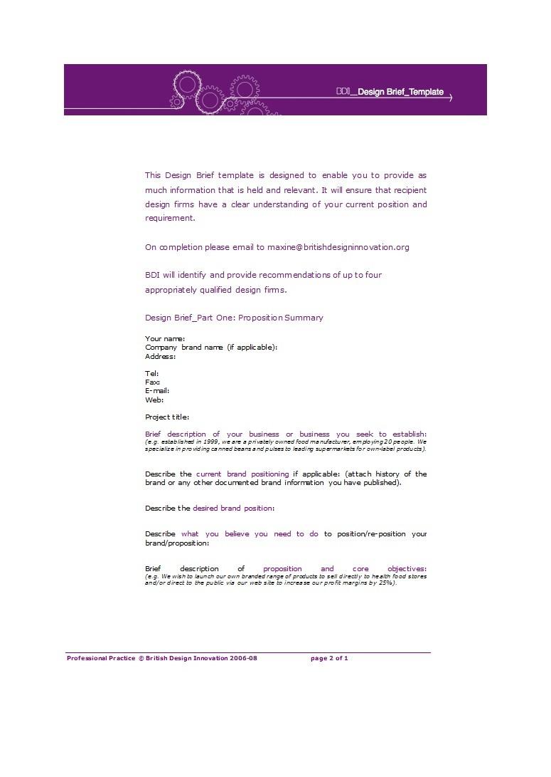 Free design brief template 27