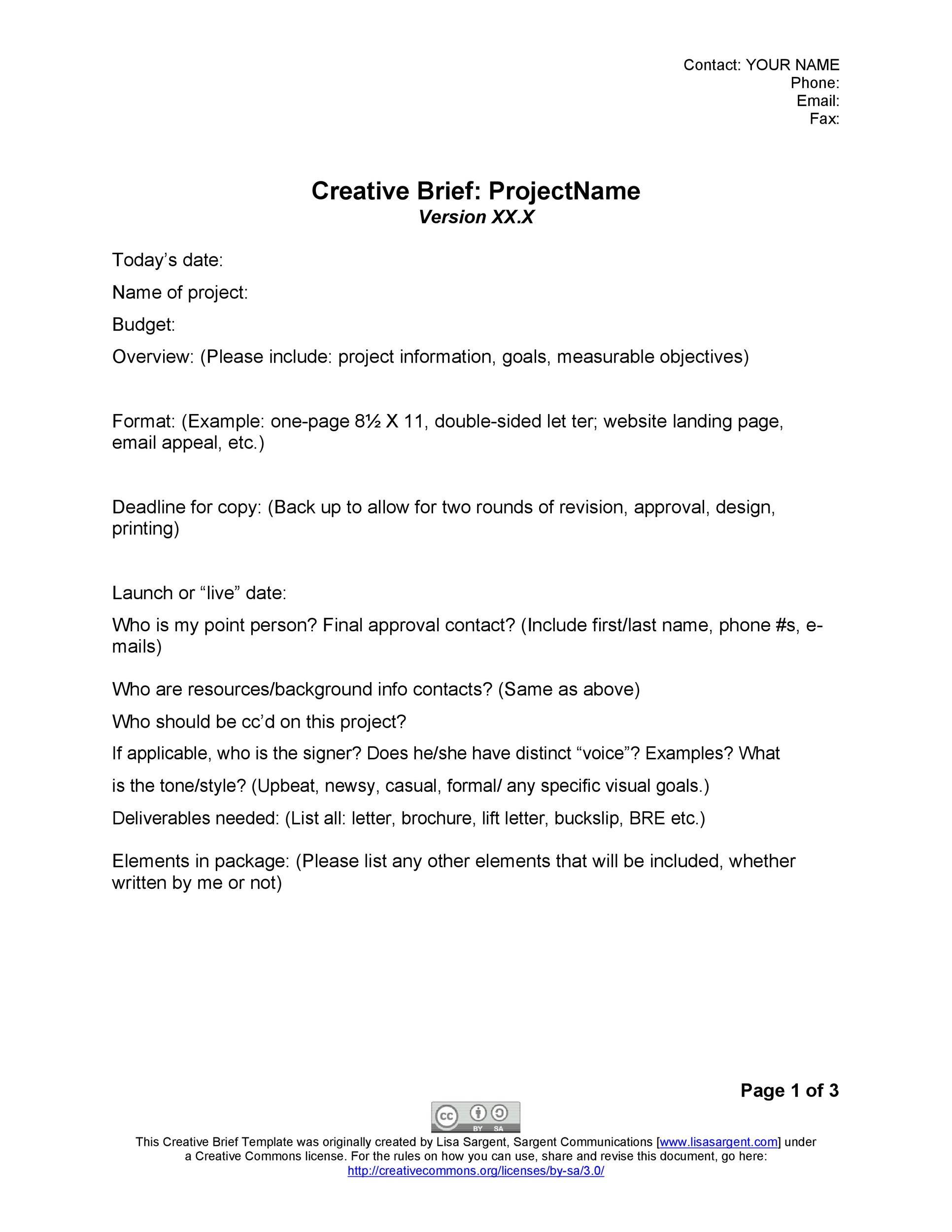 Free design brief template 35