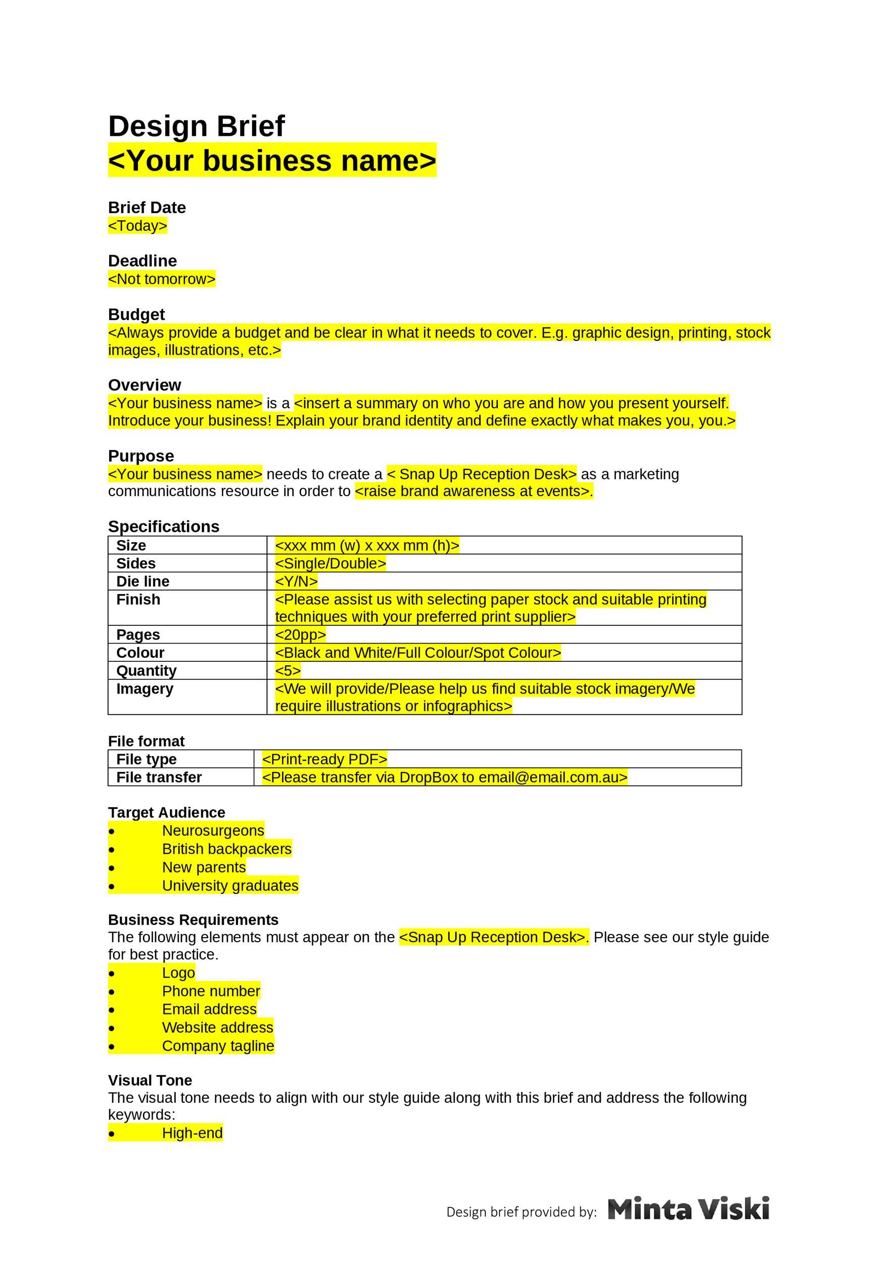 Free design brief template 36