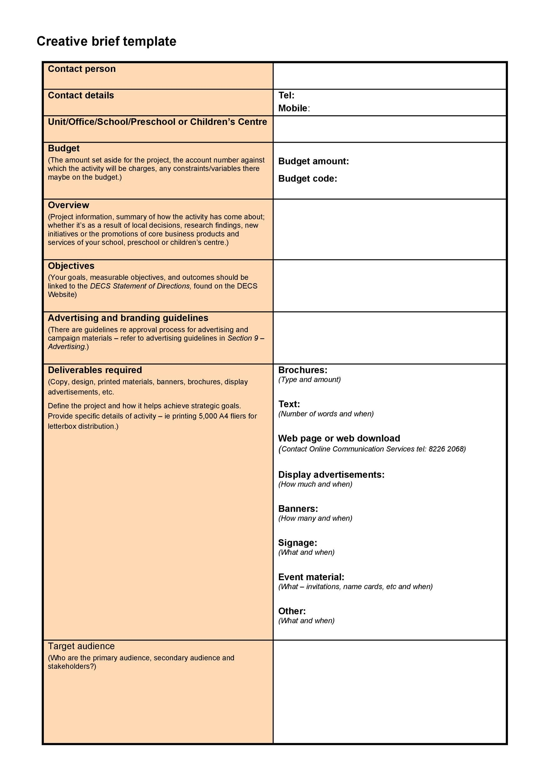 Free design brief template 41