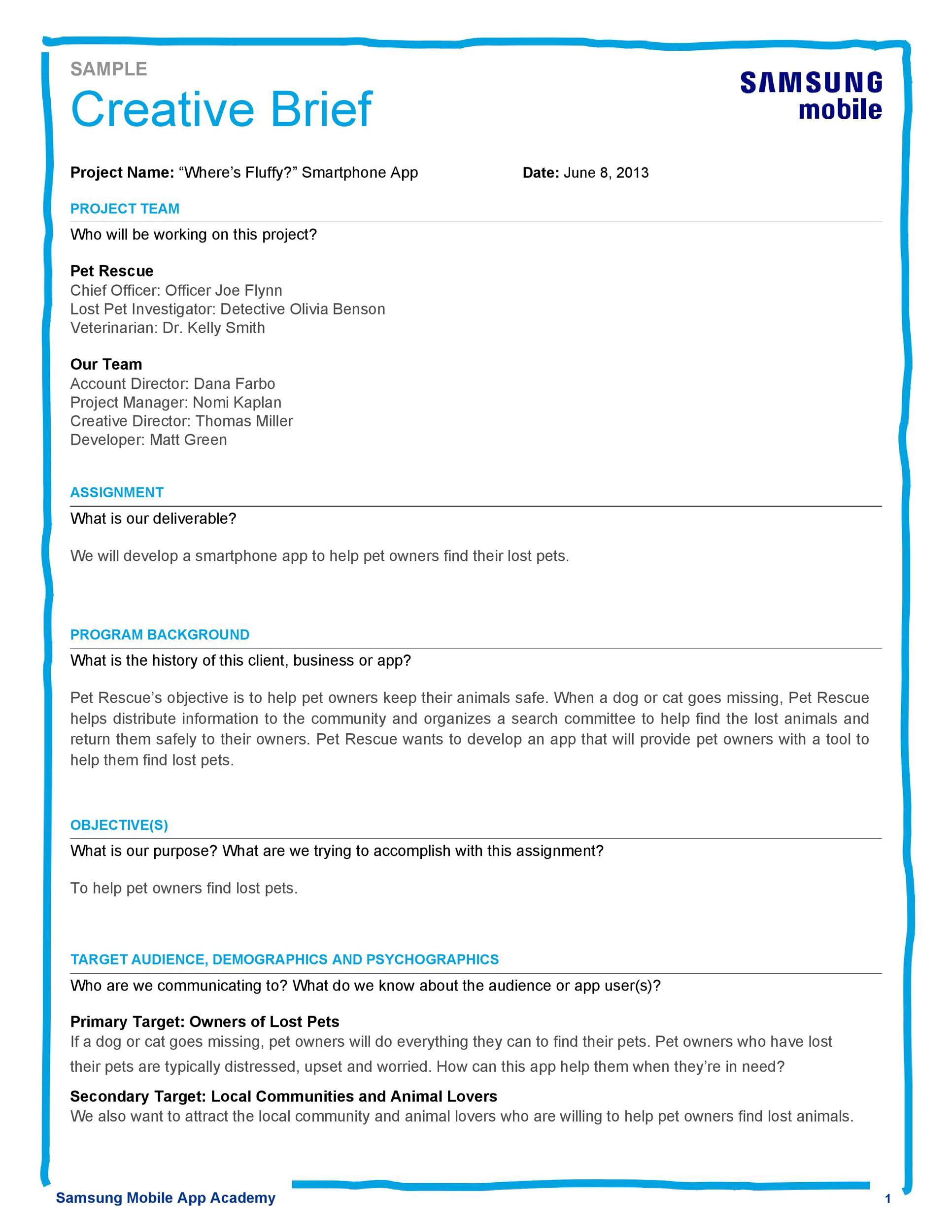 Free design brief template 46