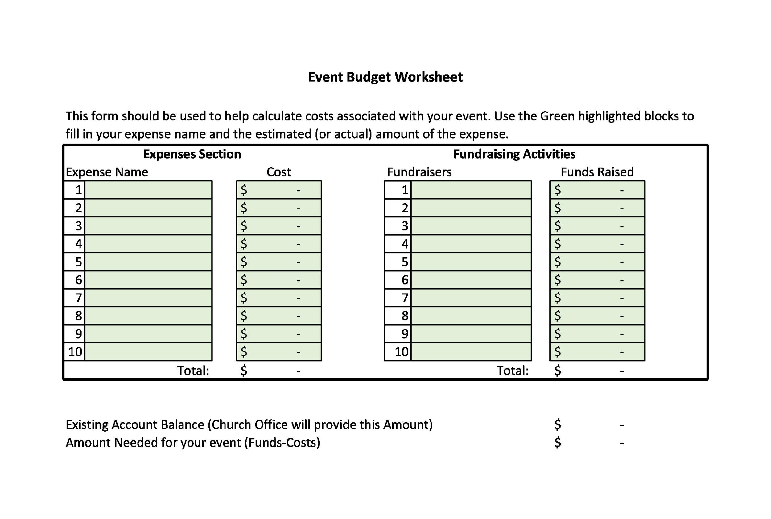 Free event budget template 07