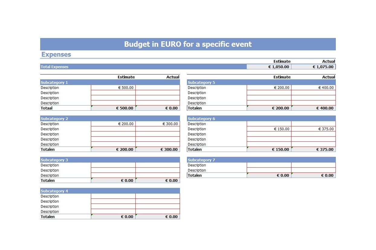 Free event budget template 08