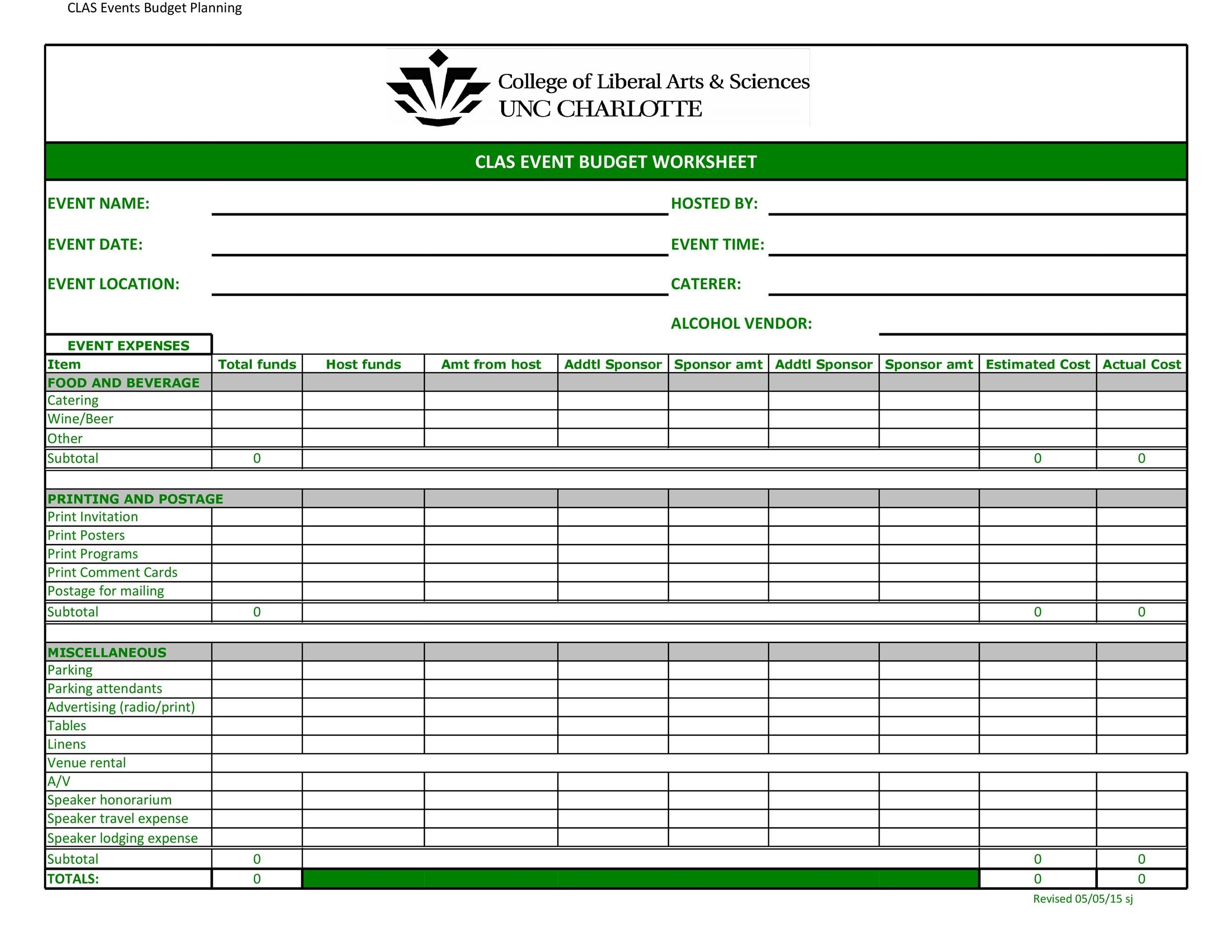 Free event budget template 14