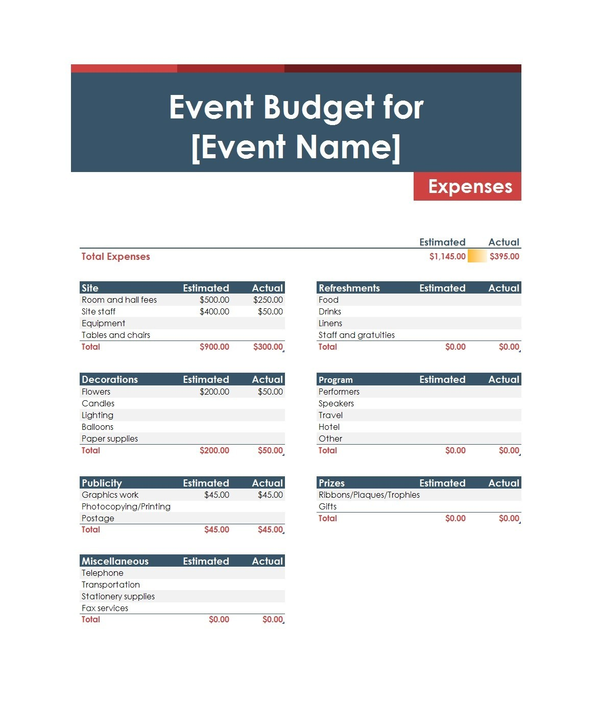Free event budget template 25
