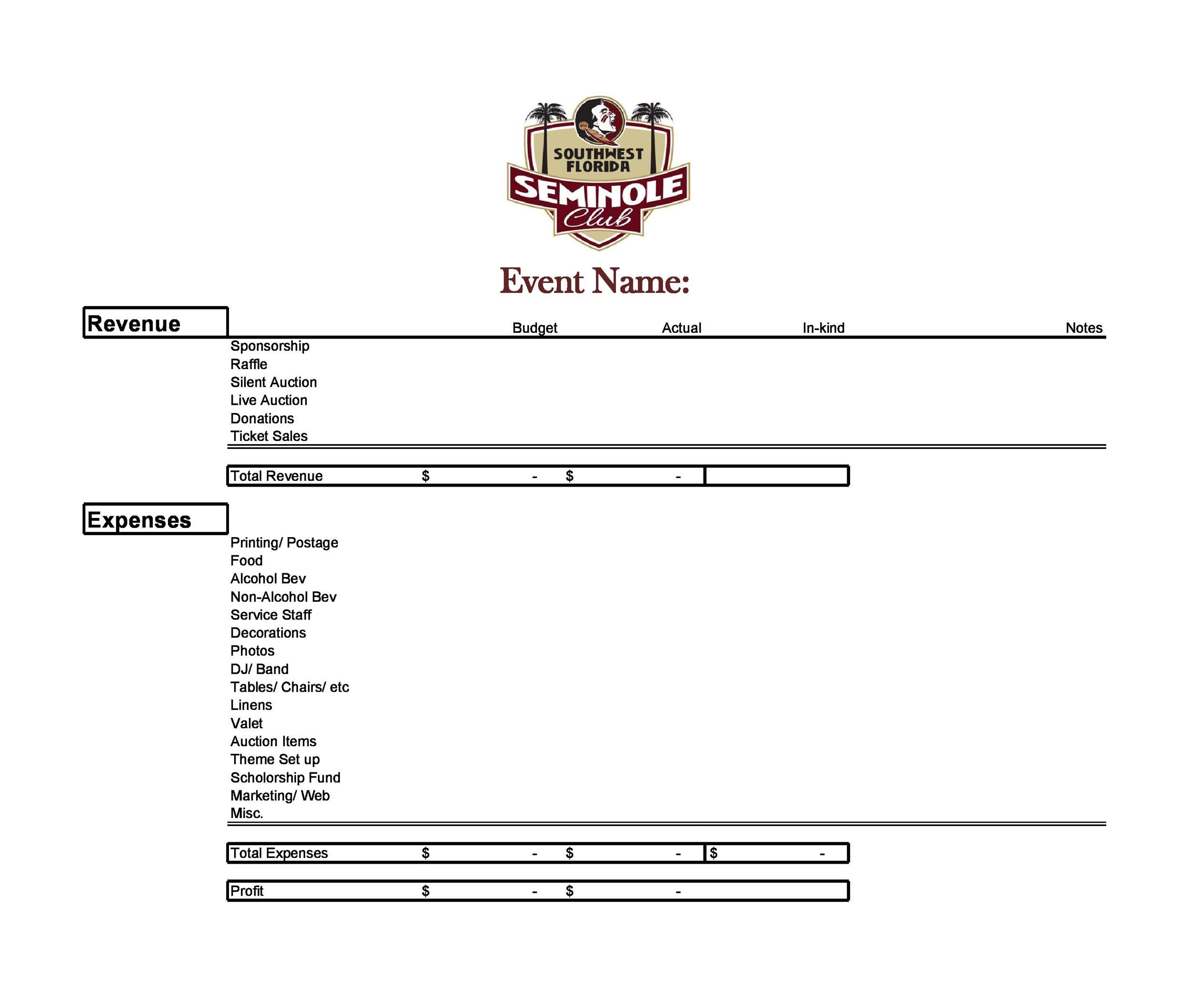Free event budget template 31