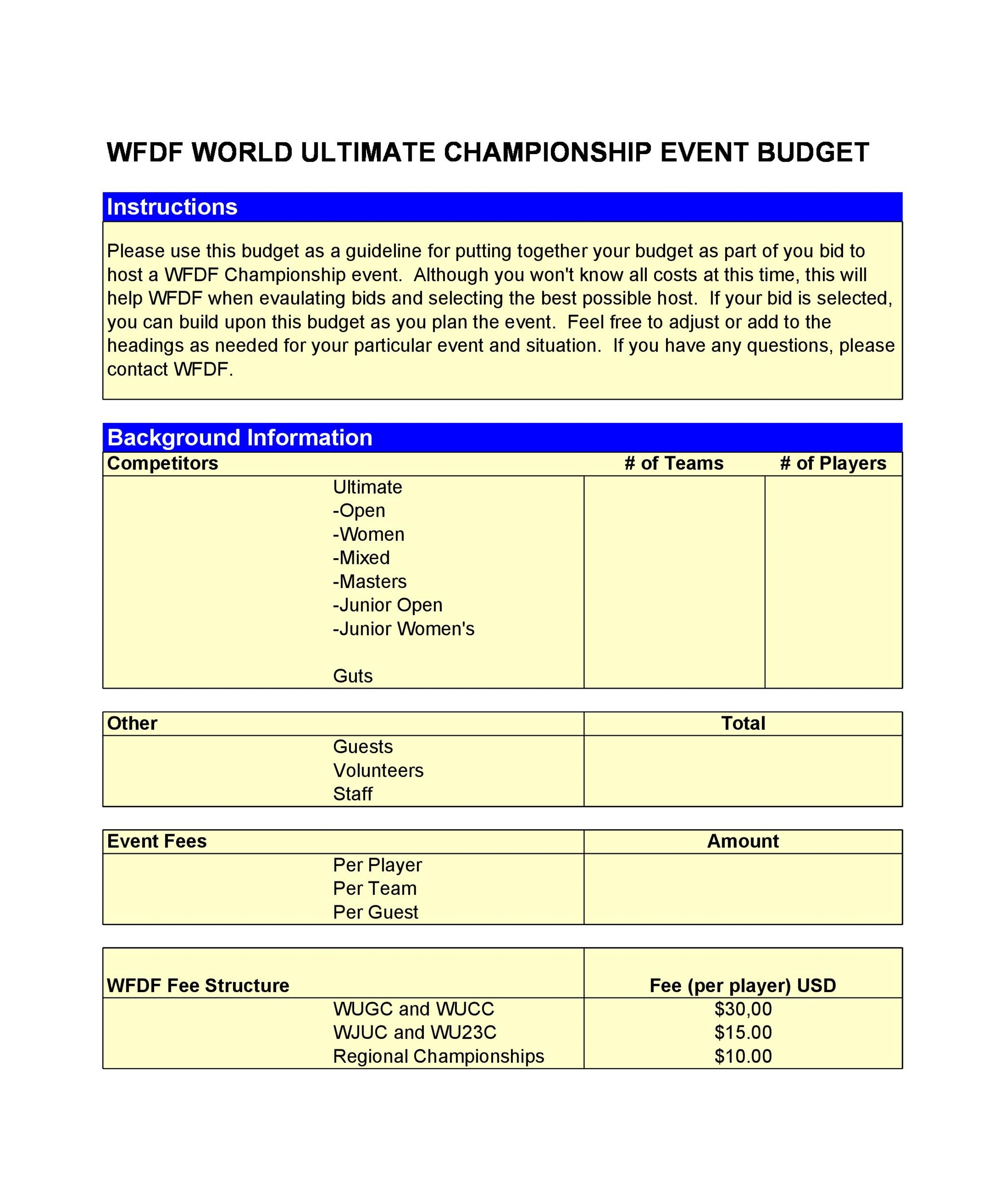 Free event budget template 37