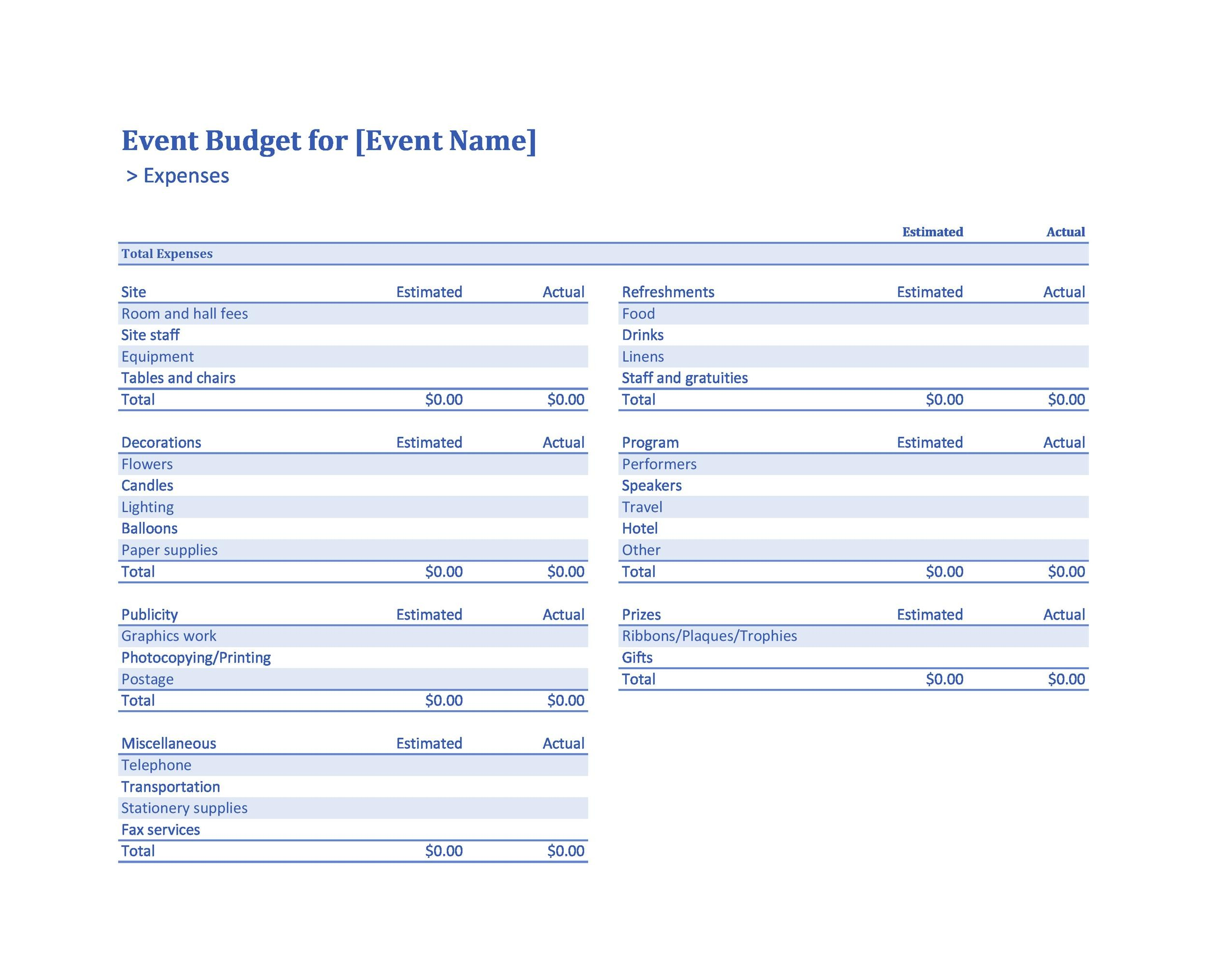 Free event budget template 38