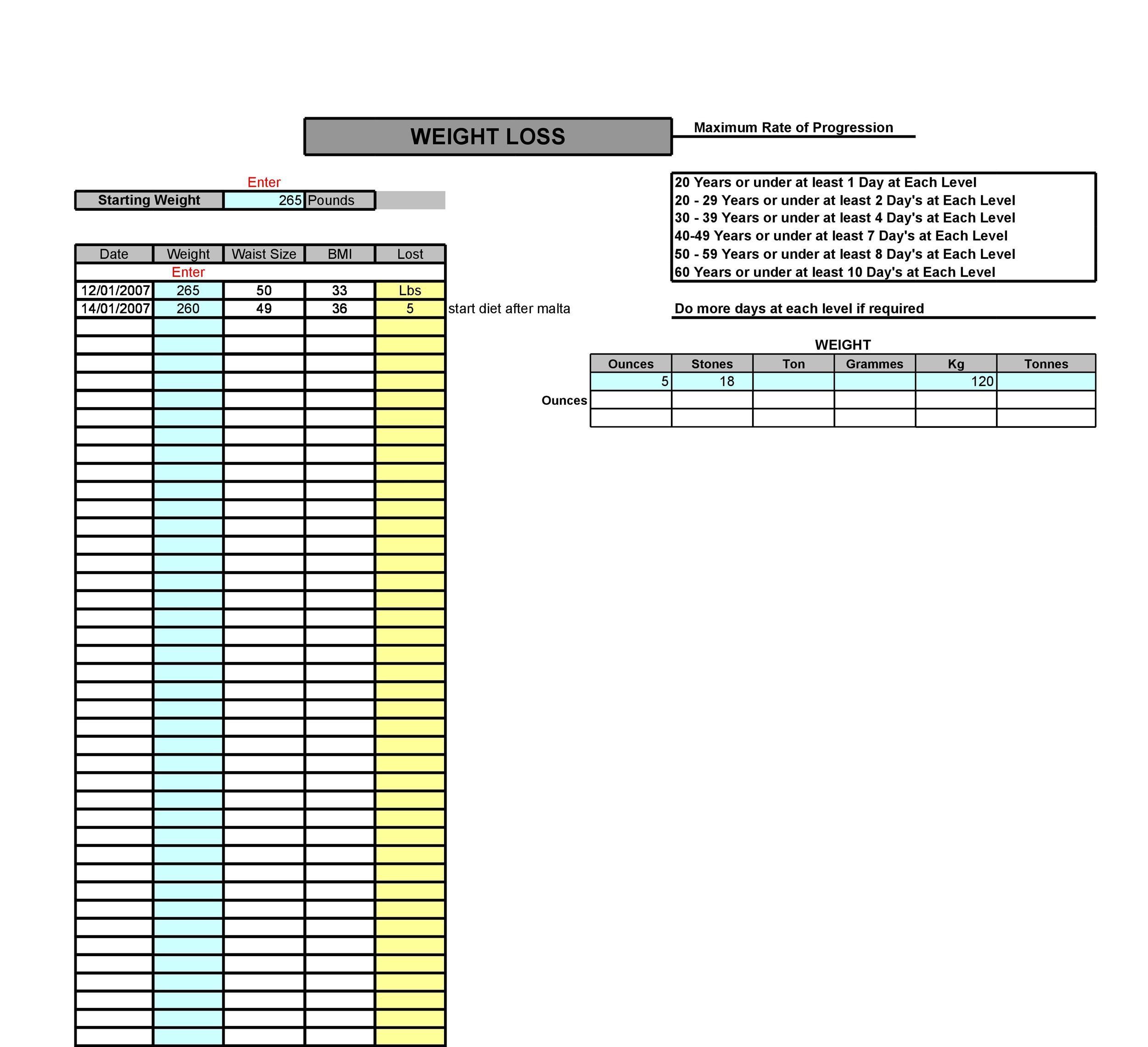 Free exercise chart 38