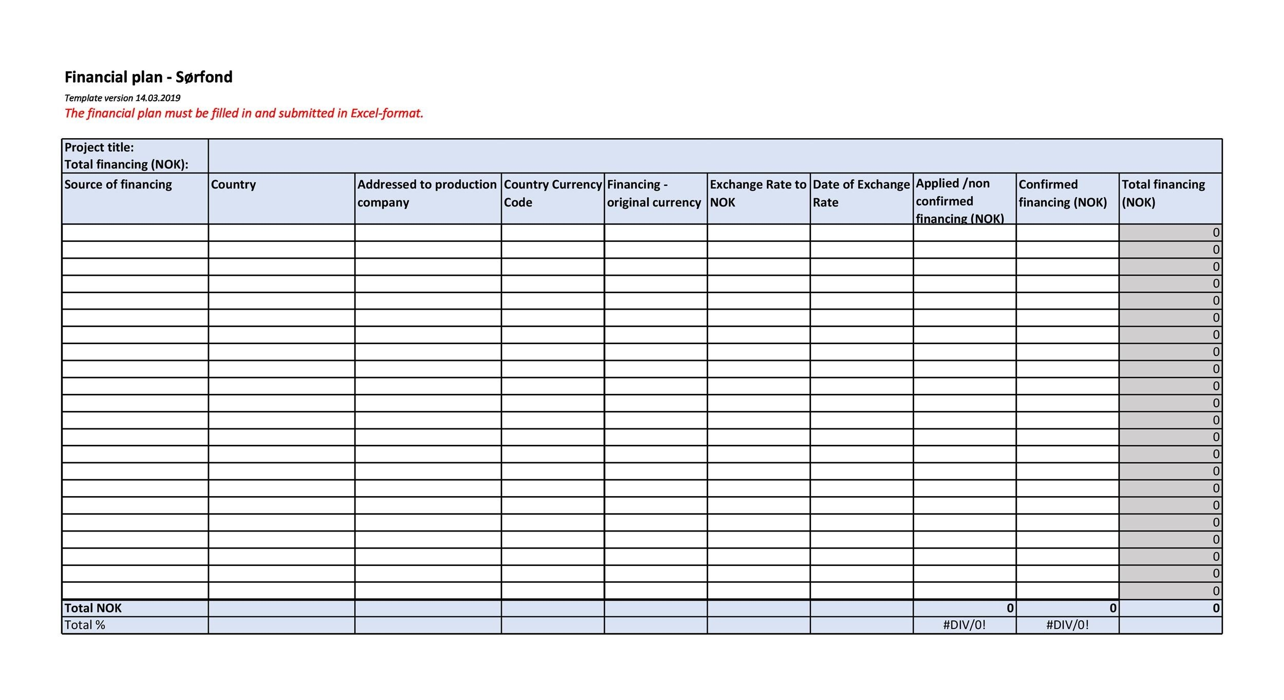 Free financial plan template 09