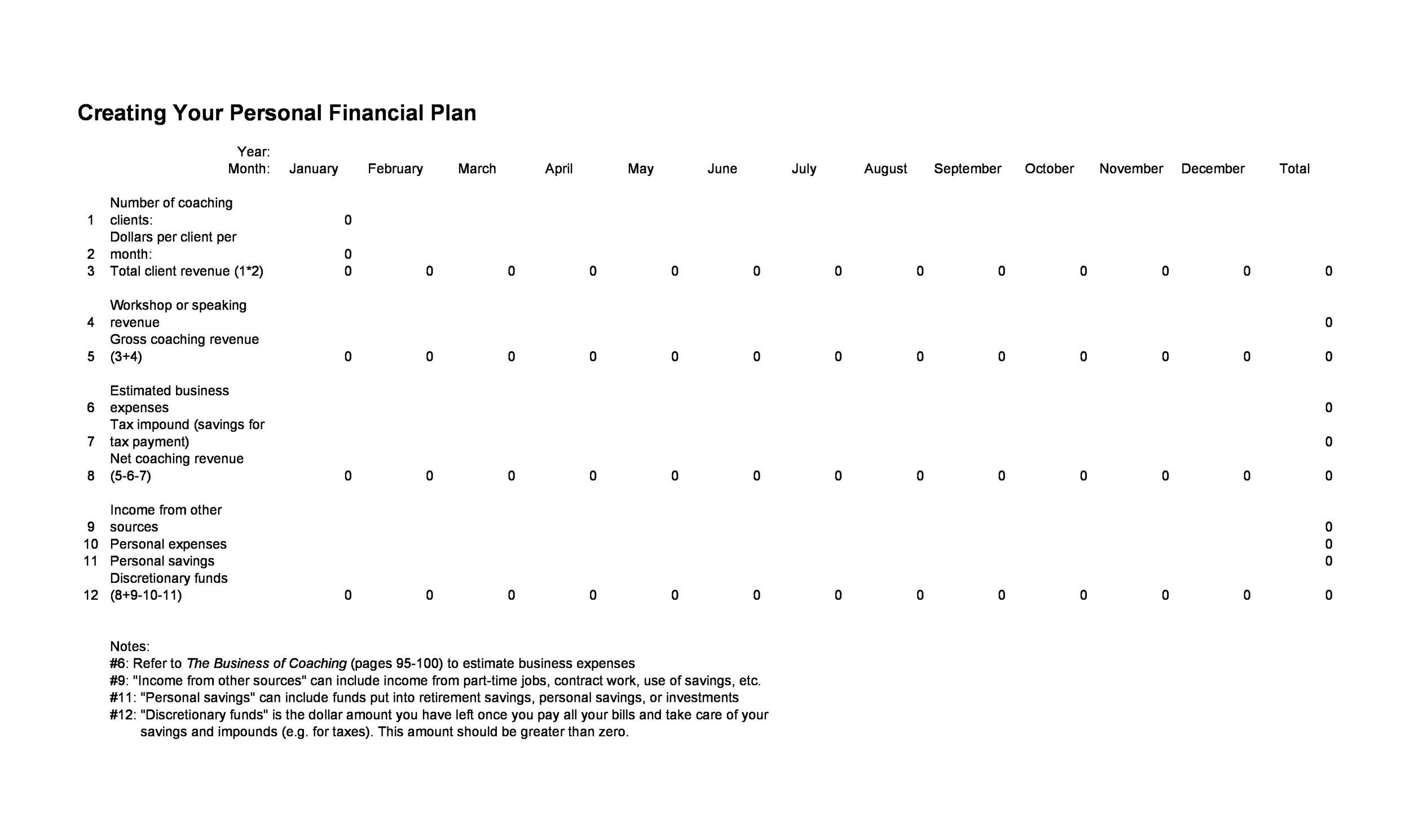 Free financial plan template 17