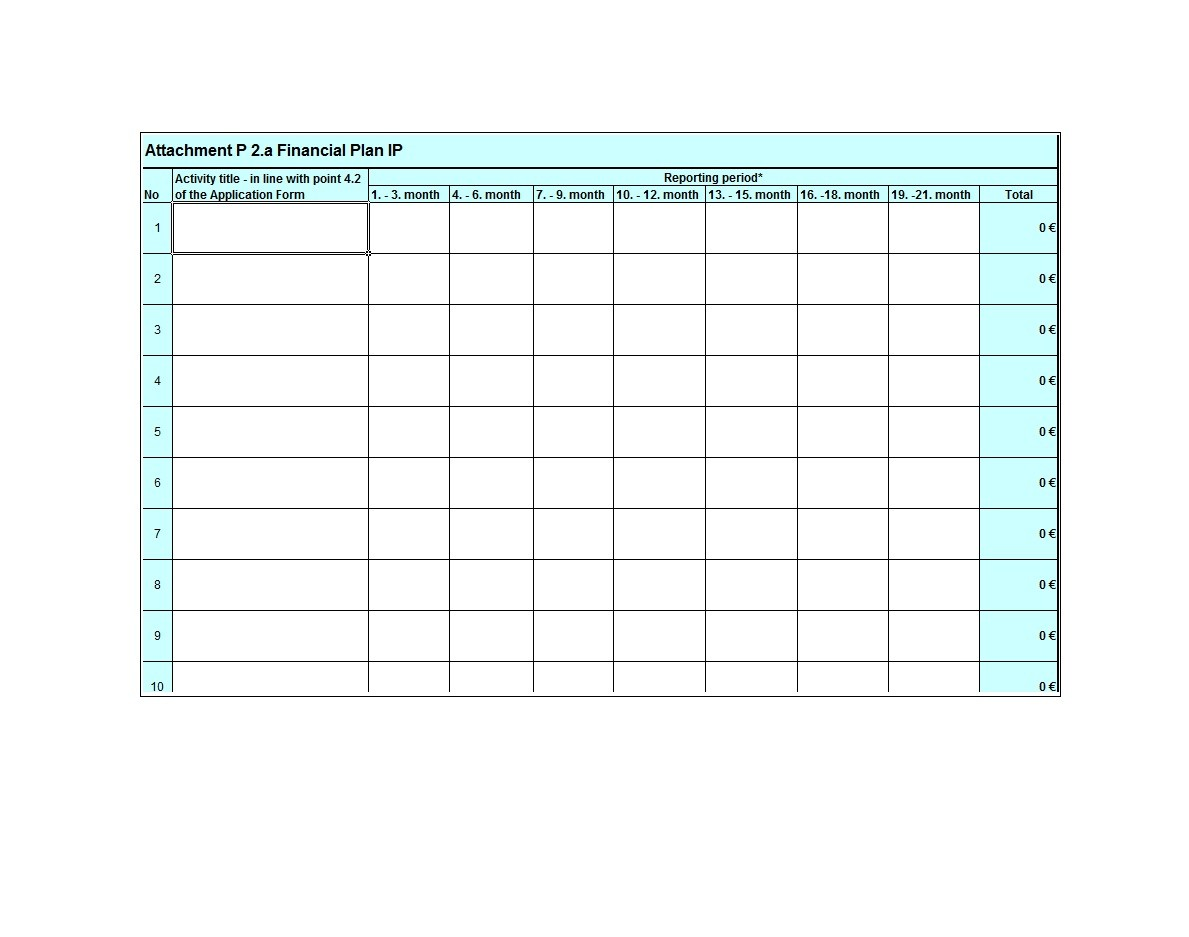 Free financial plan template 27