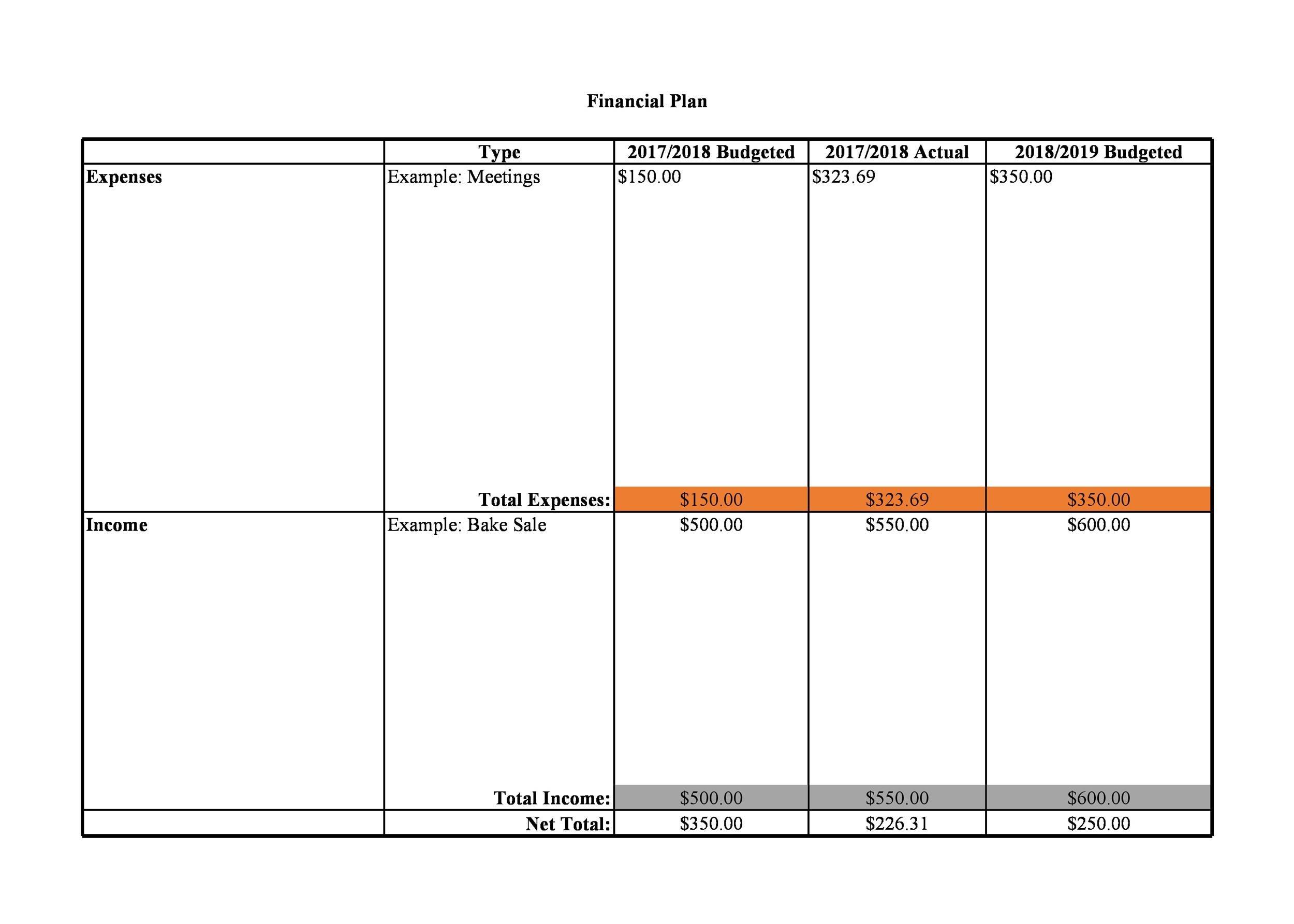 Free financial plan template 30