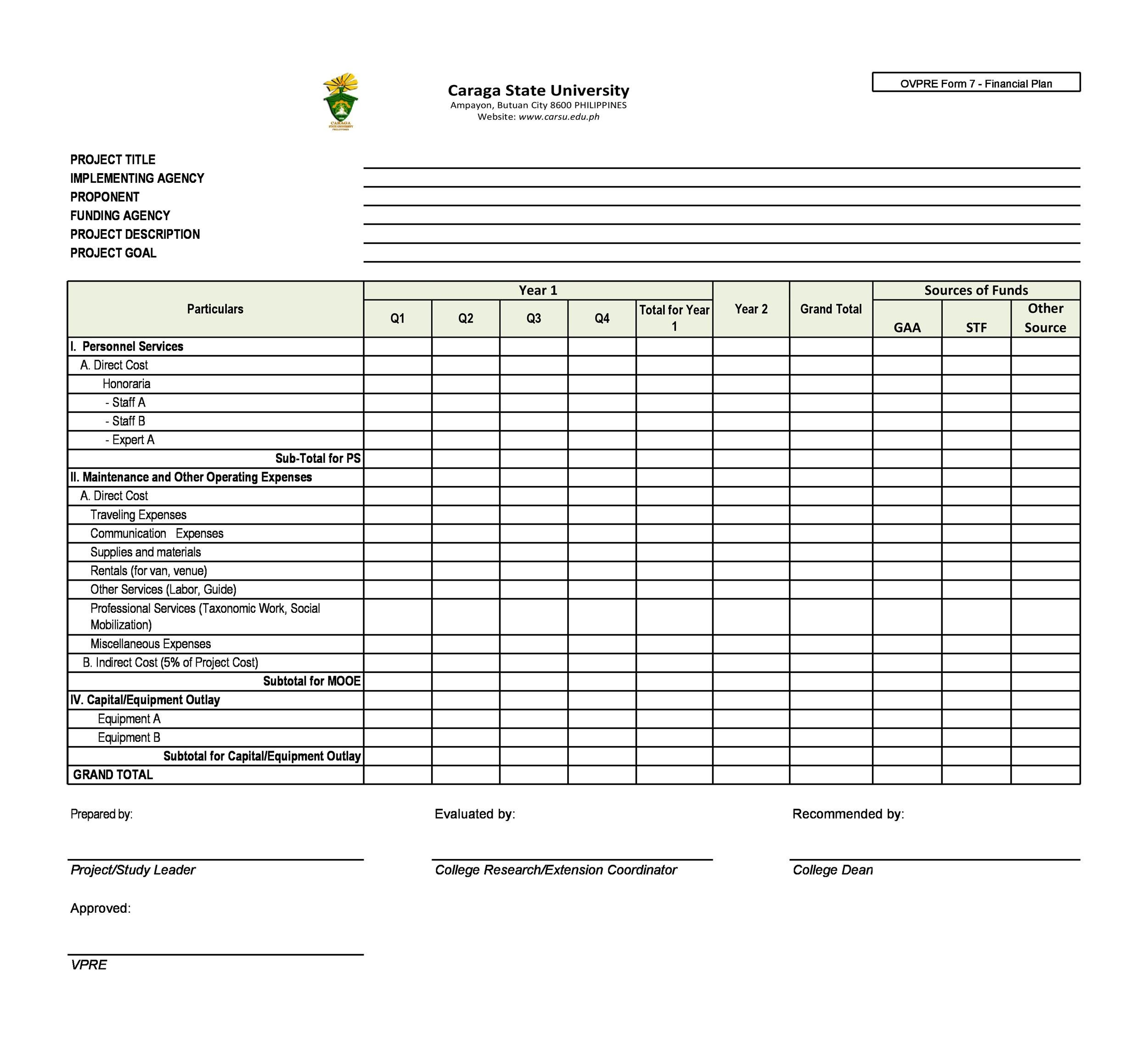 Free financial plan template 32