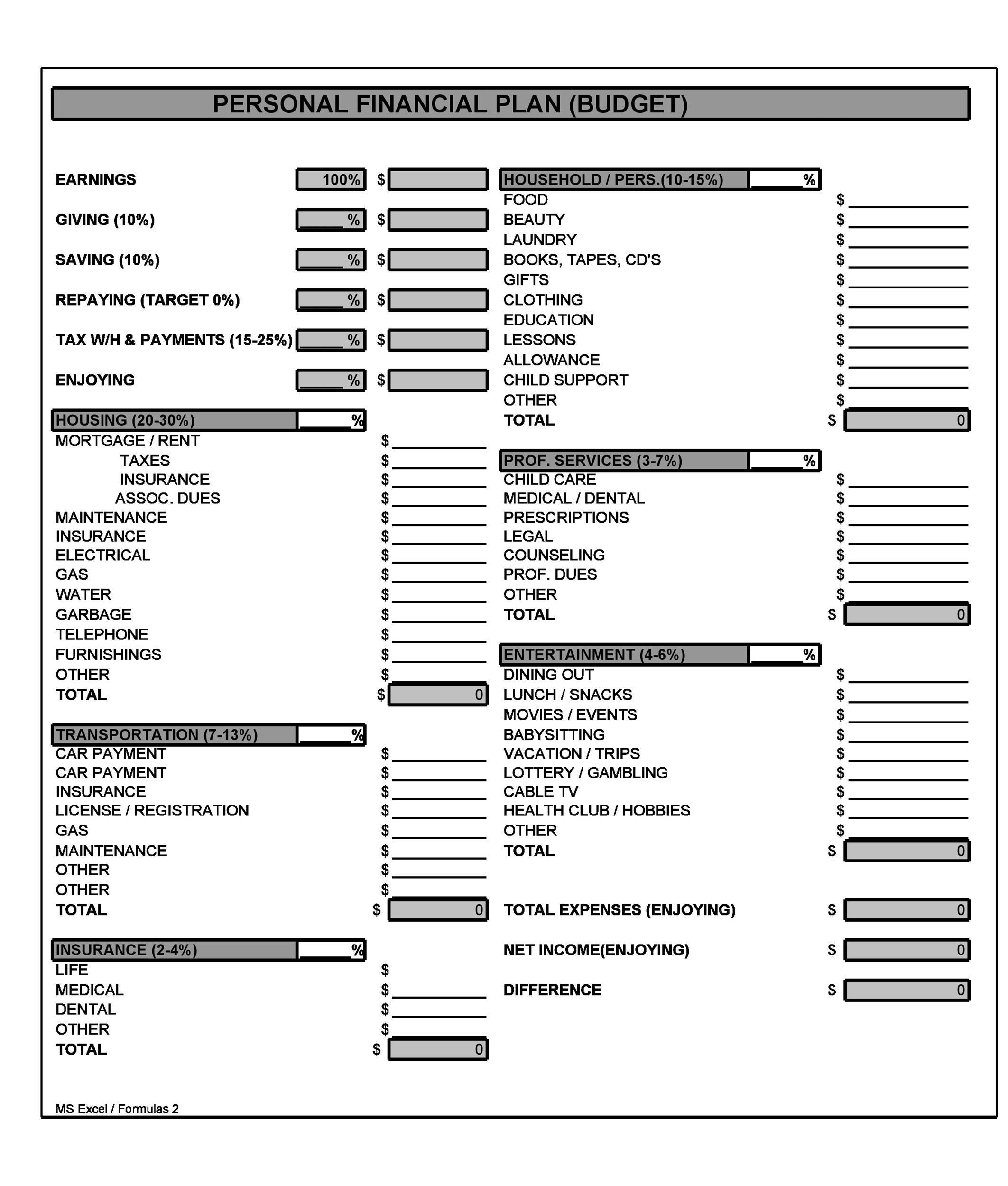 Free financial plan template 34