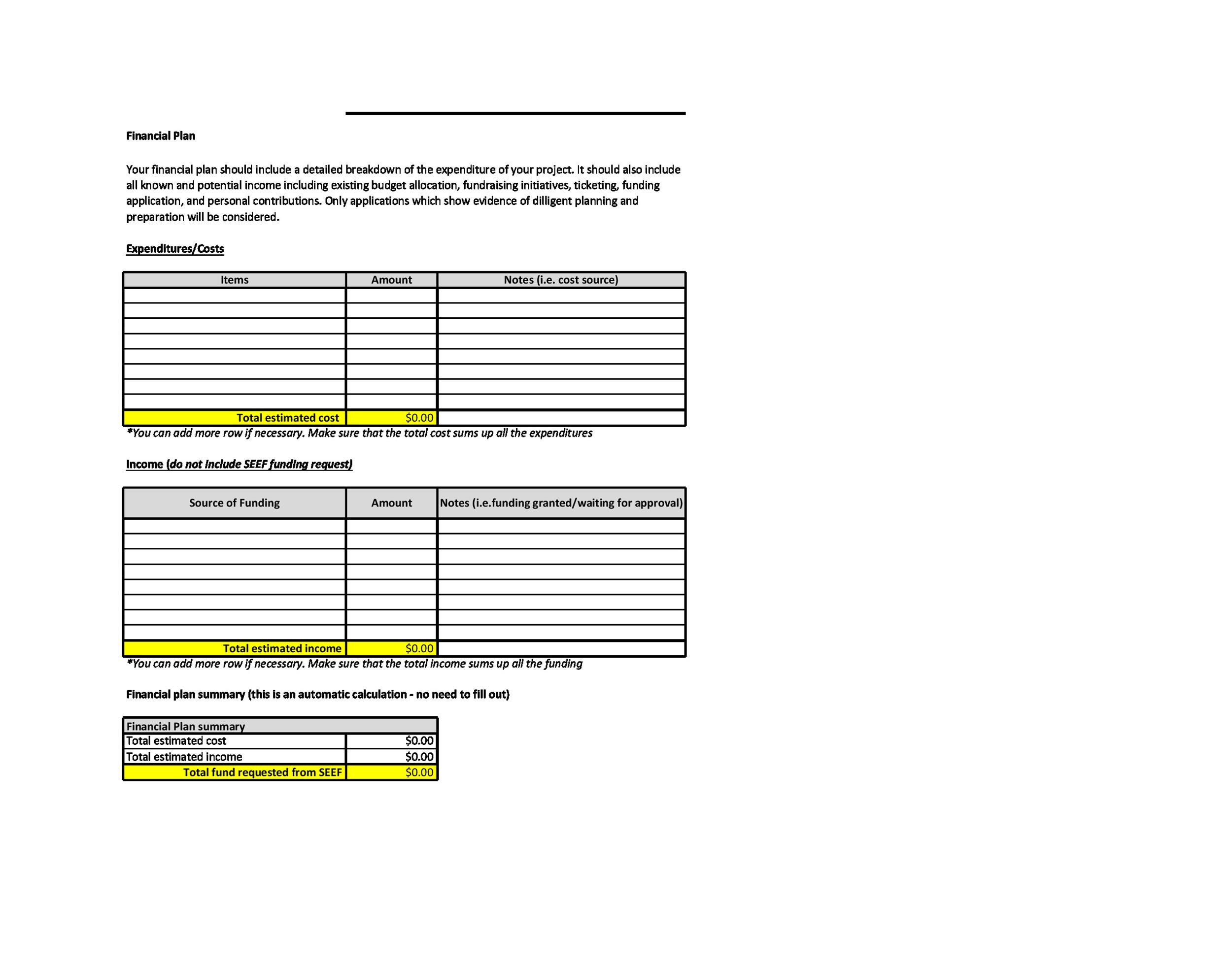 Free financial plan template 35