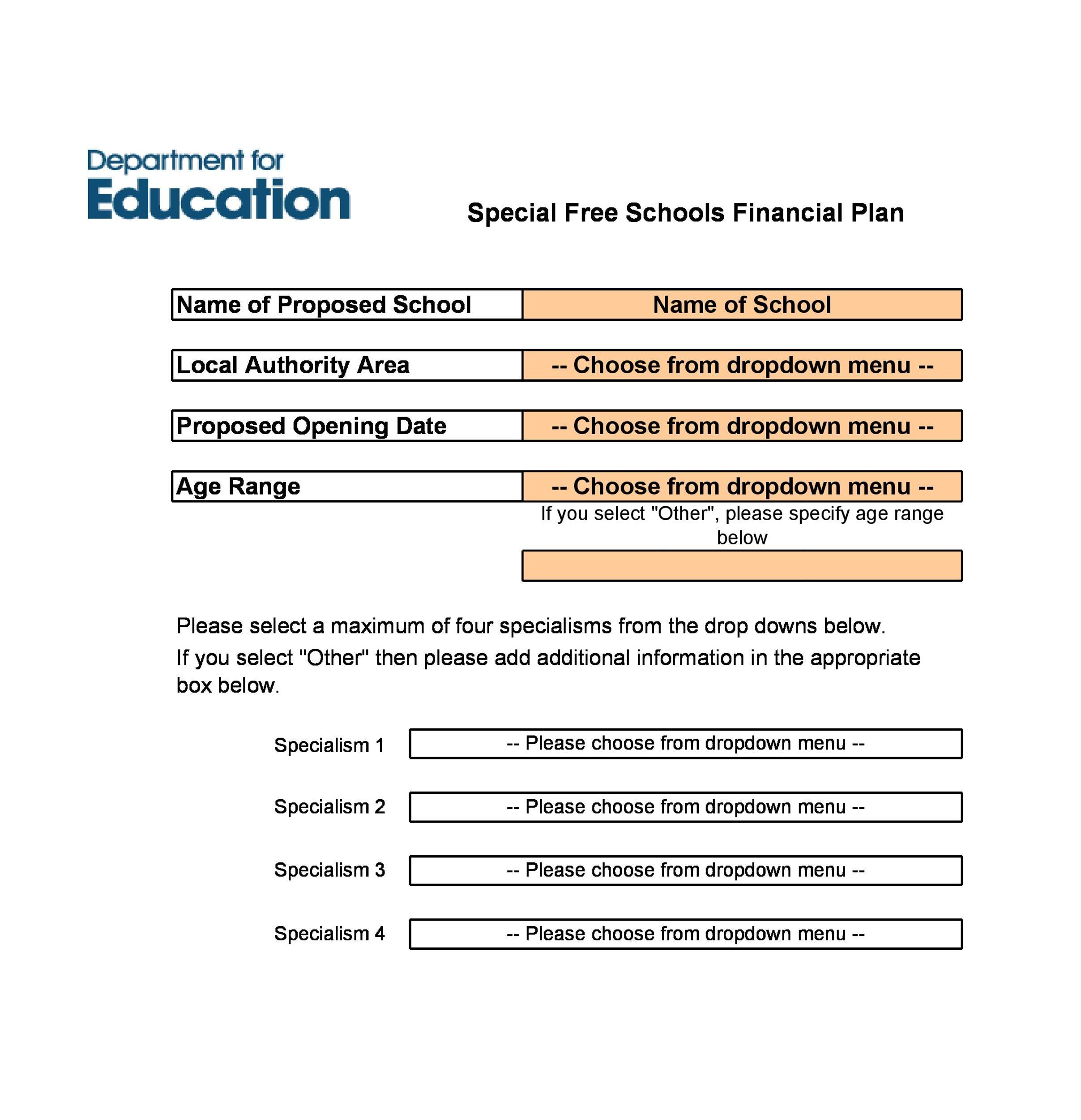 Free financial plan template 37