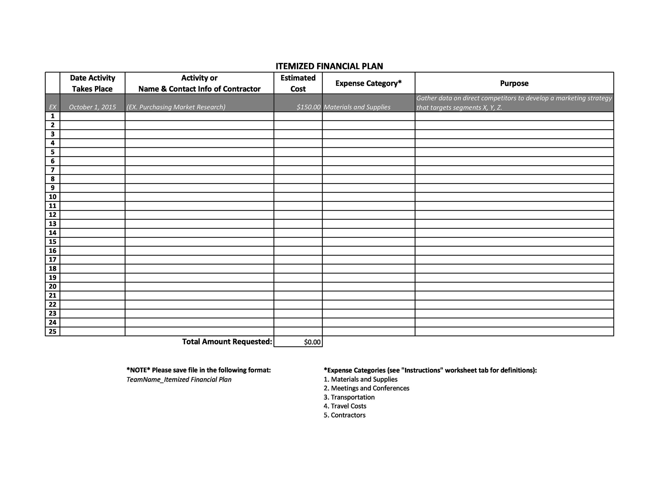 Free financial plan template 38