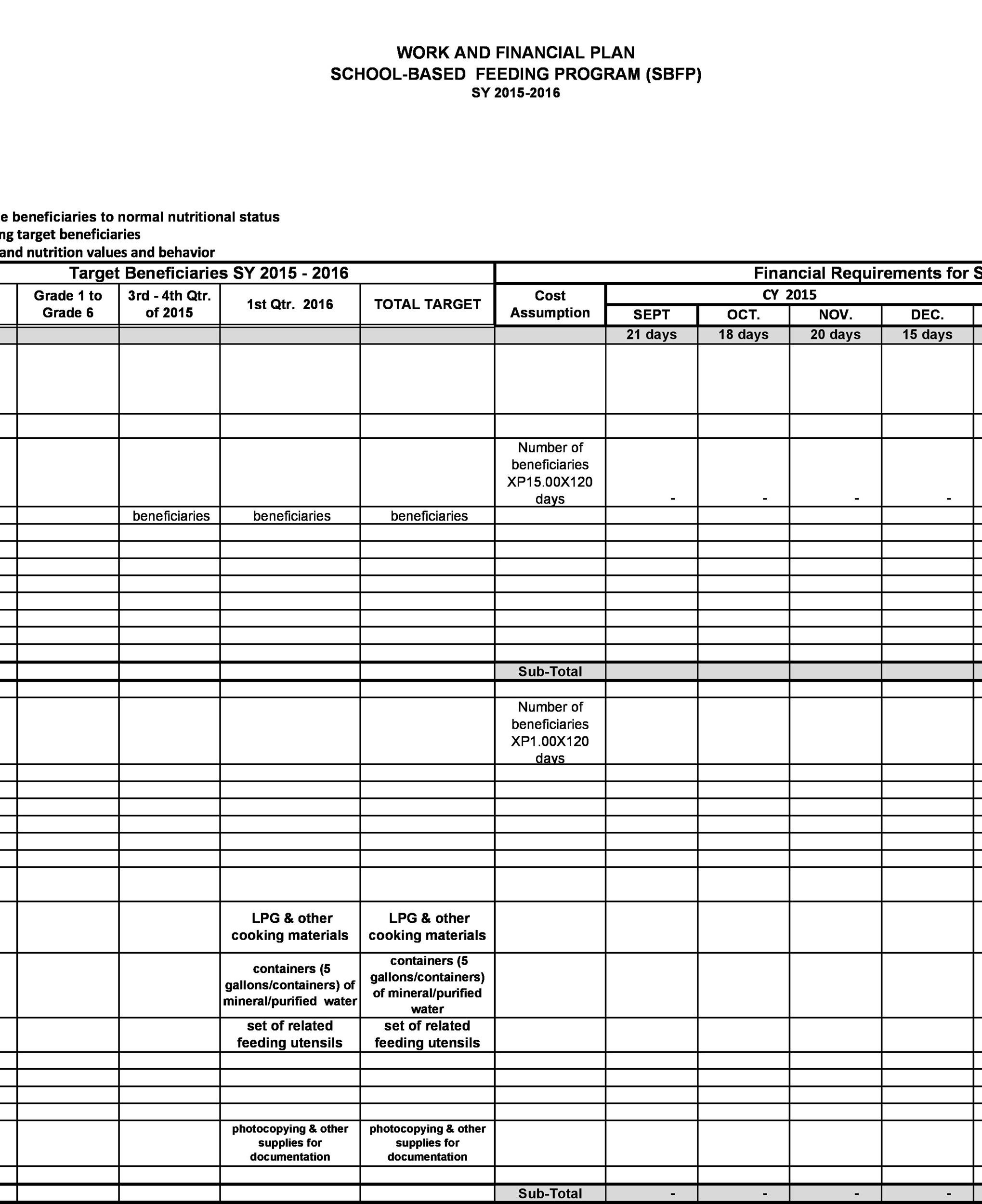 Free financial plan template 41