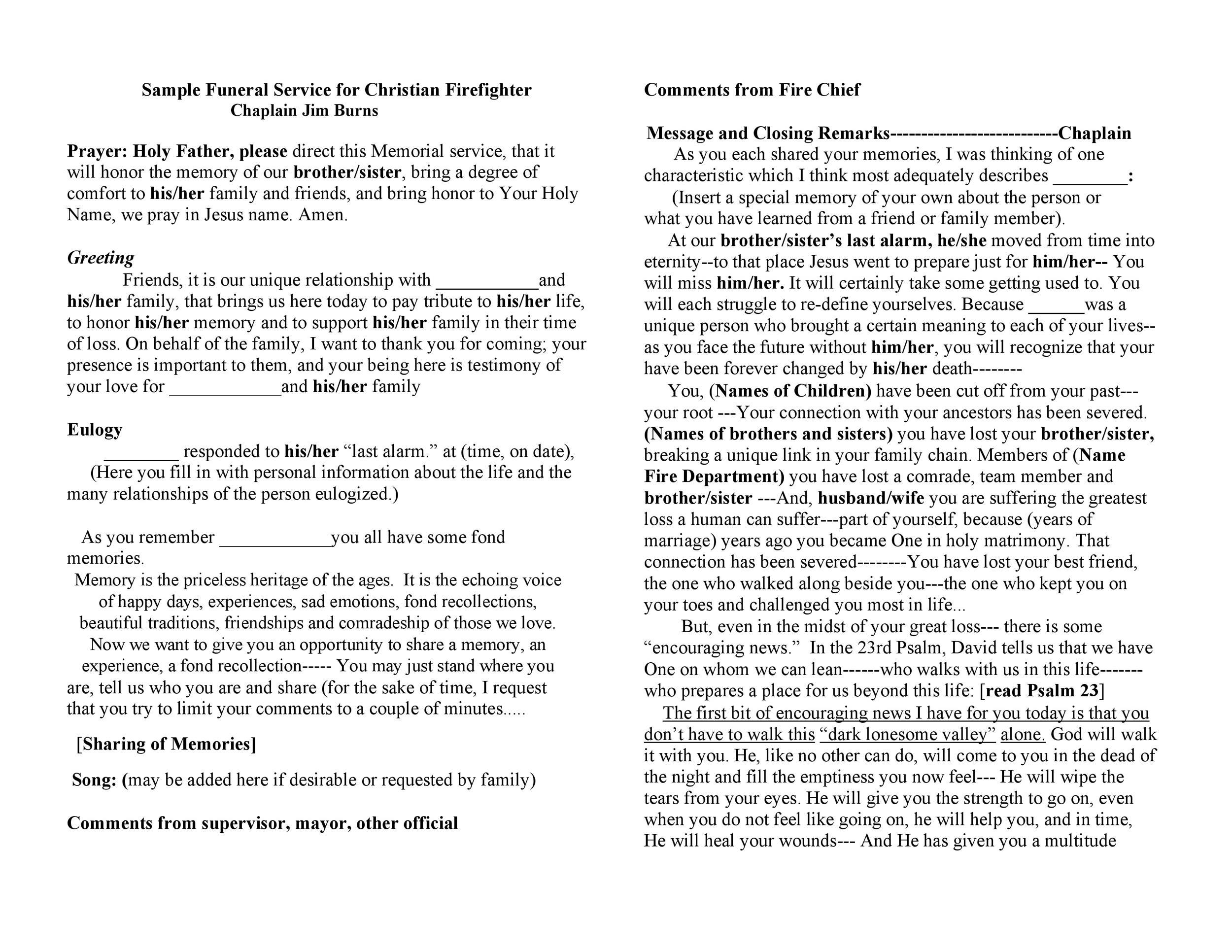 Free funeral program template 03