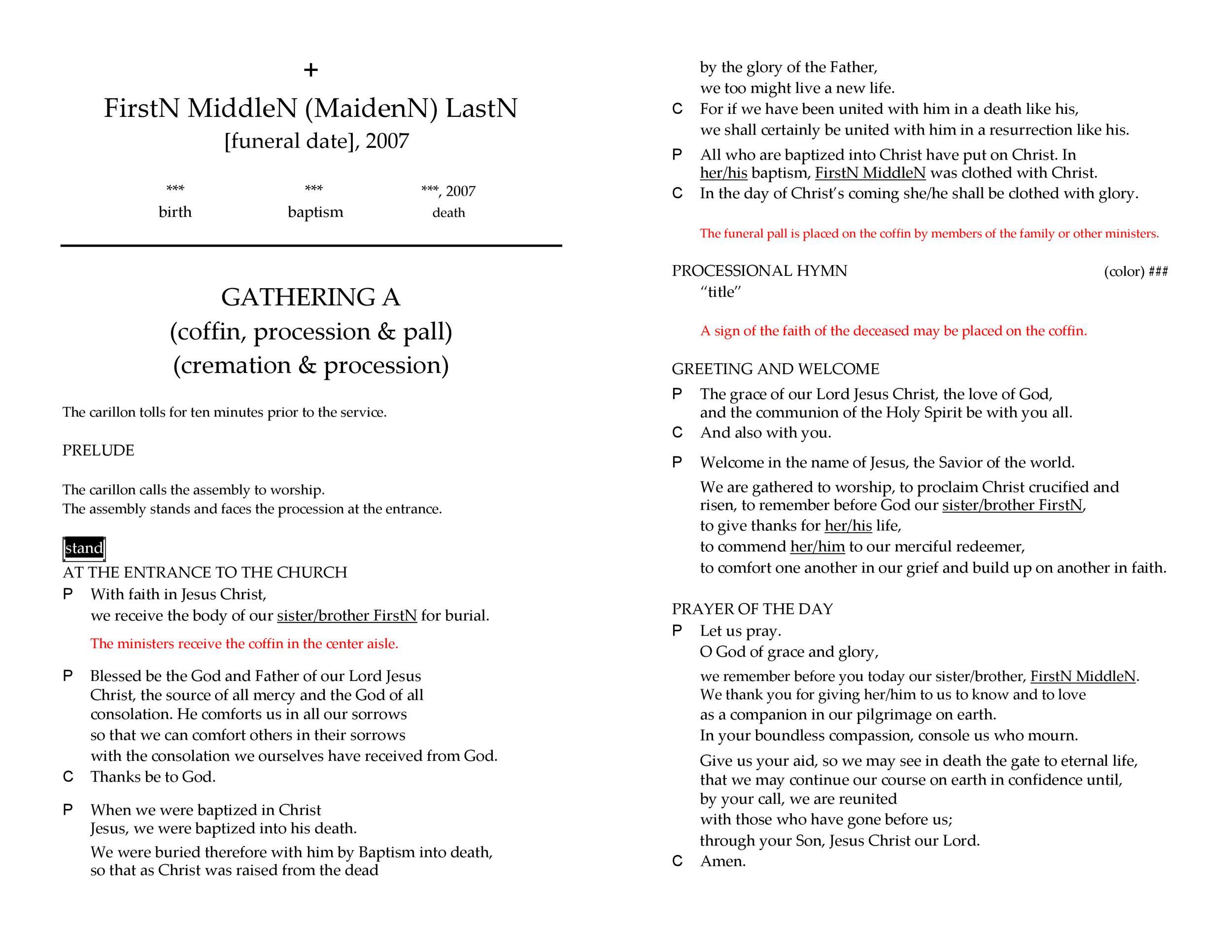 Free funeral program template 05