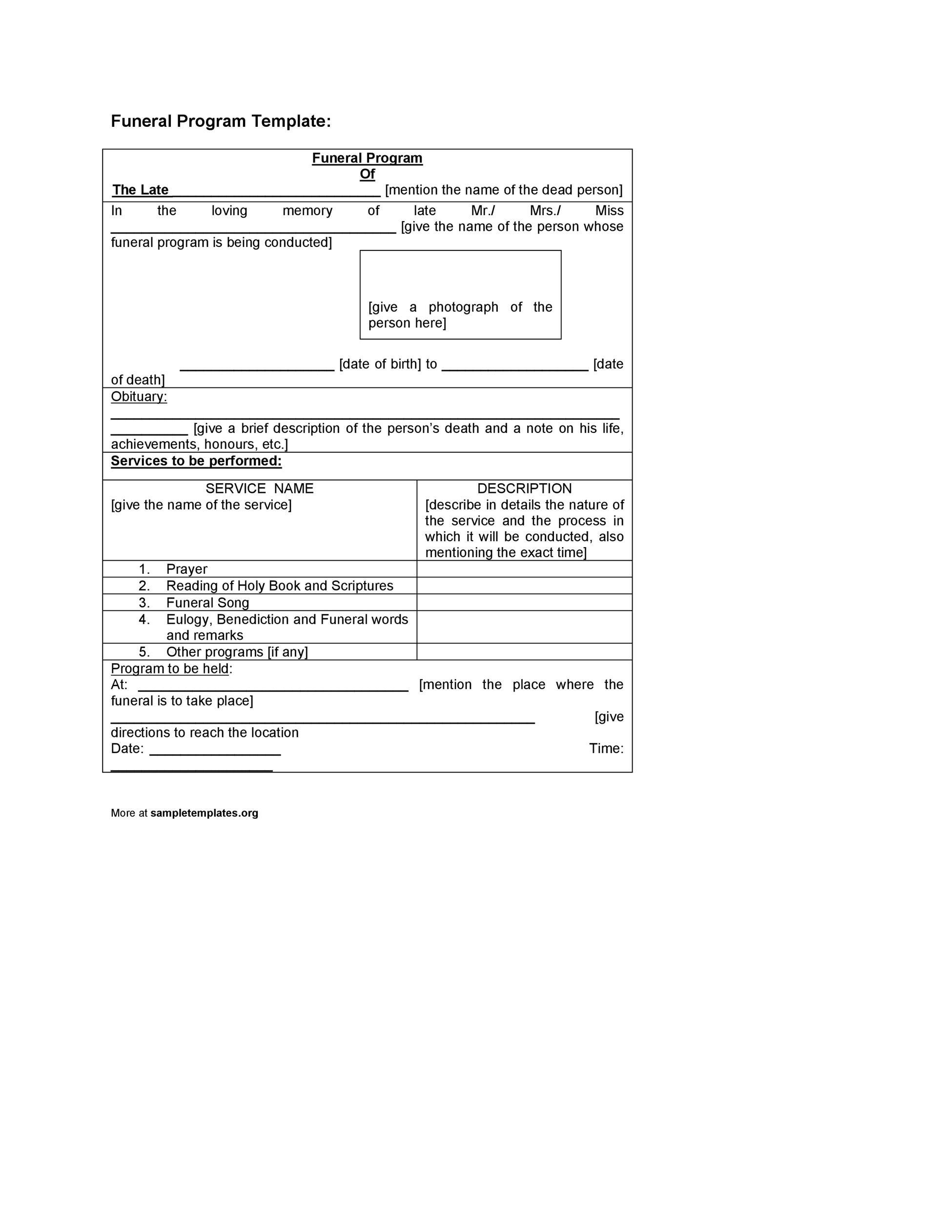 Free funeral program template 09