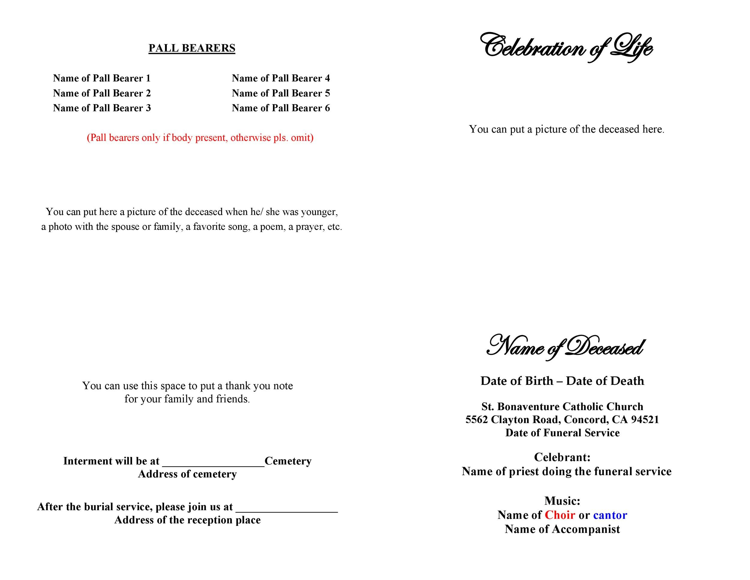 Free funeral program template 10