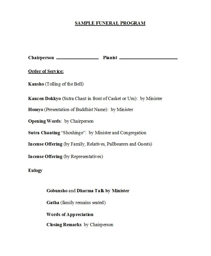 Free funeral program template 12
