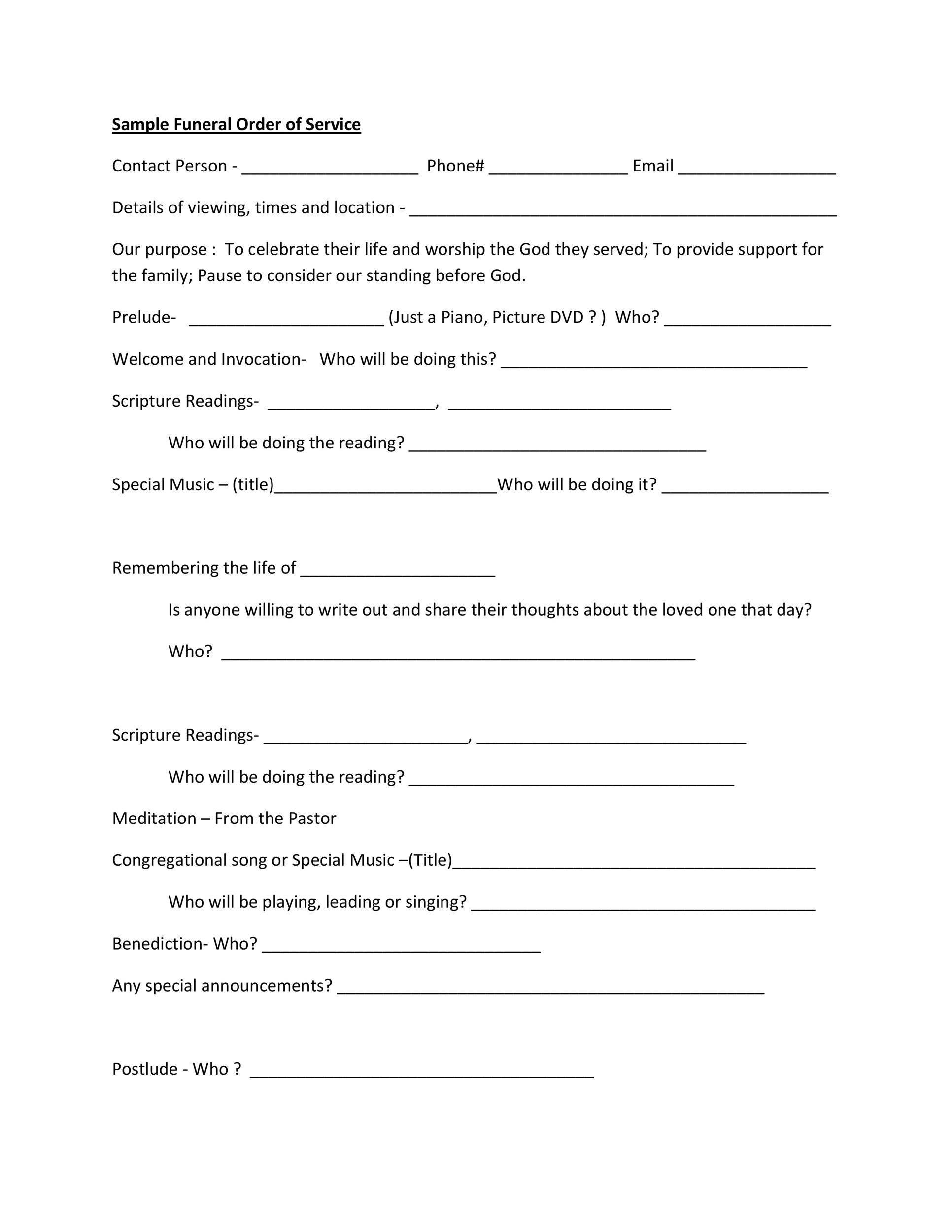 Free funeral program template 13