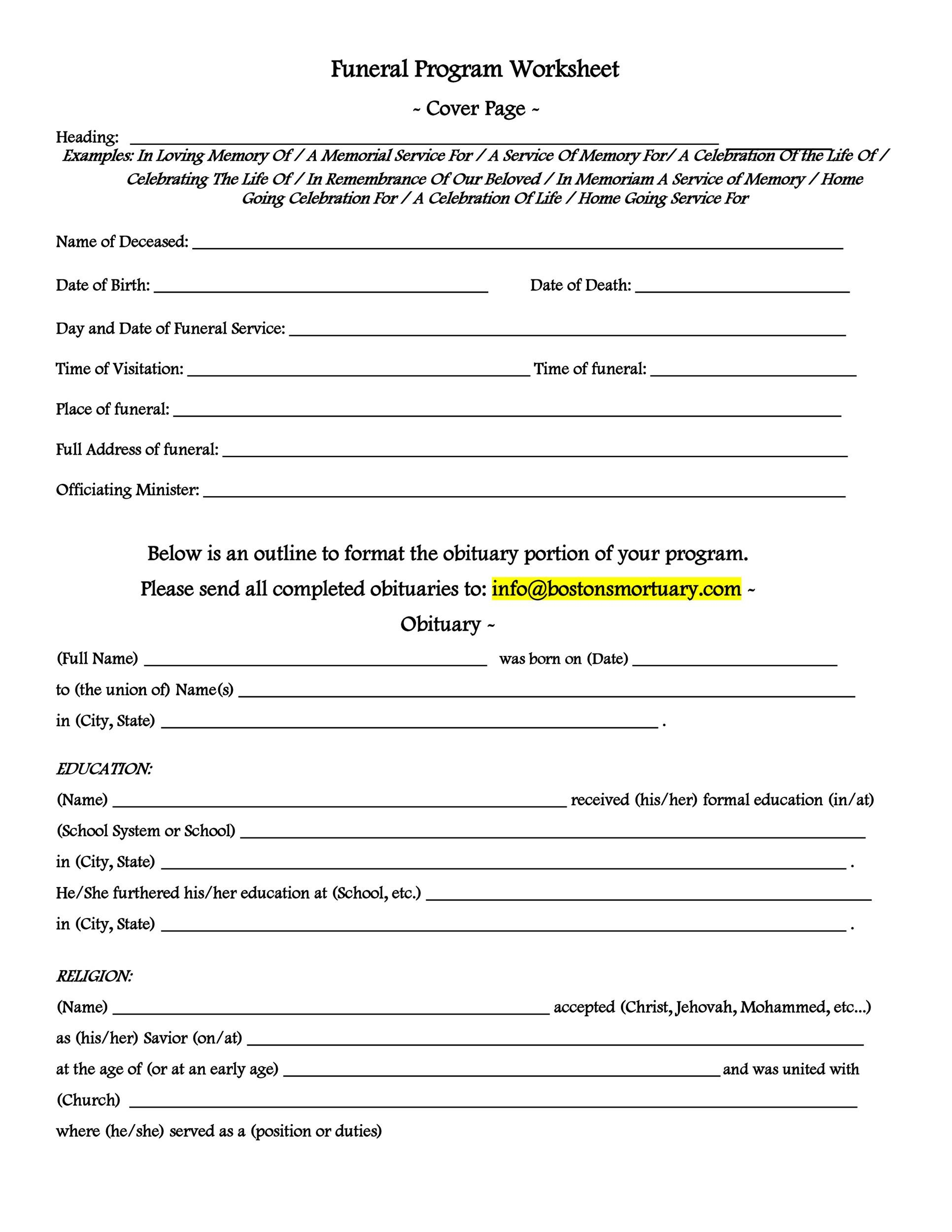 Free funeral program template 17