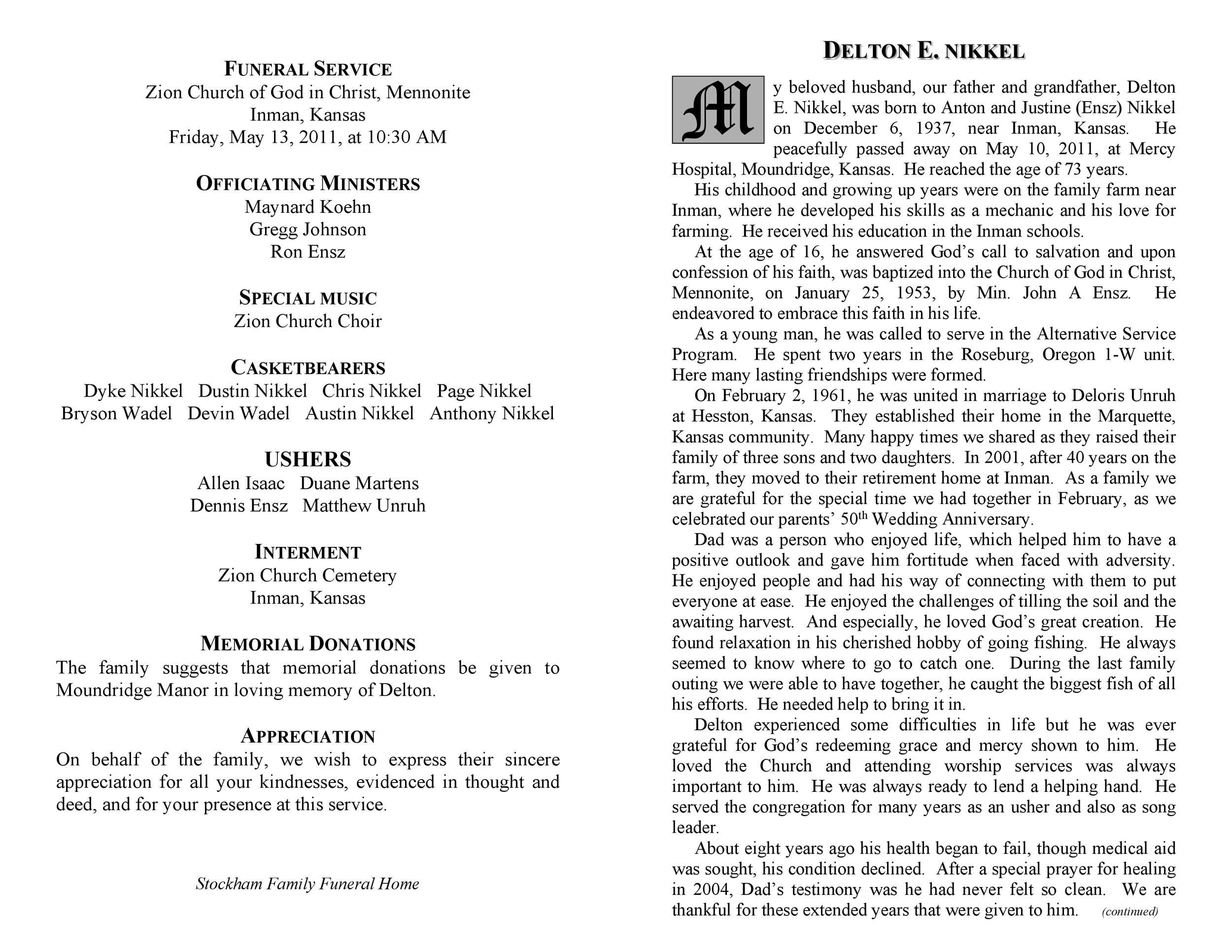 Free funeral program template 25