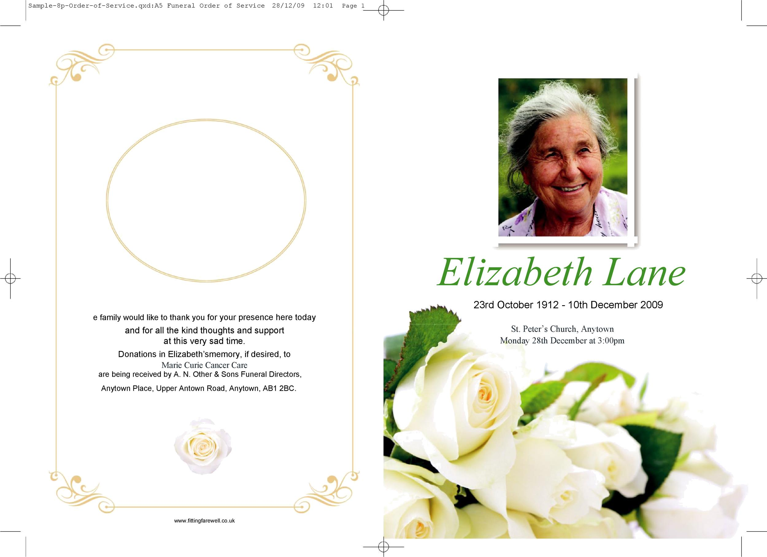 Free funeral program template 34