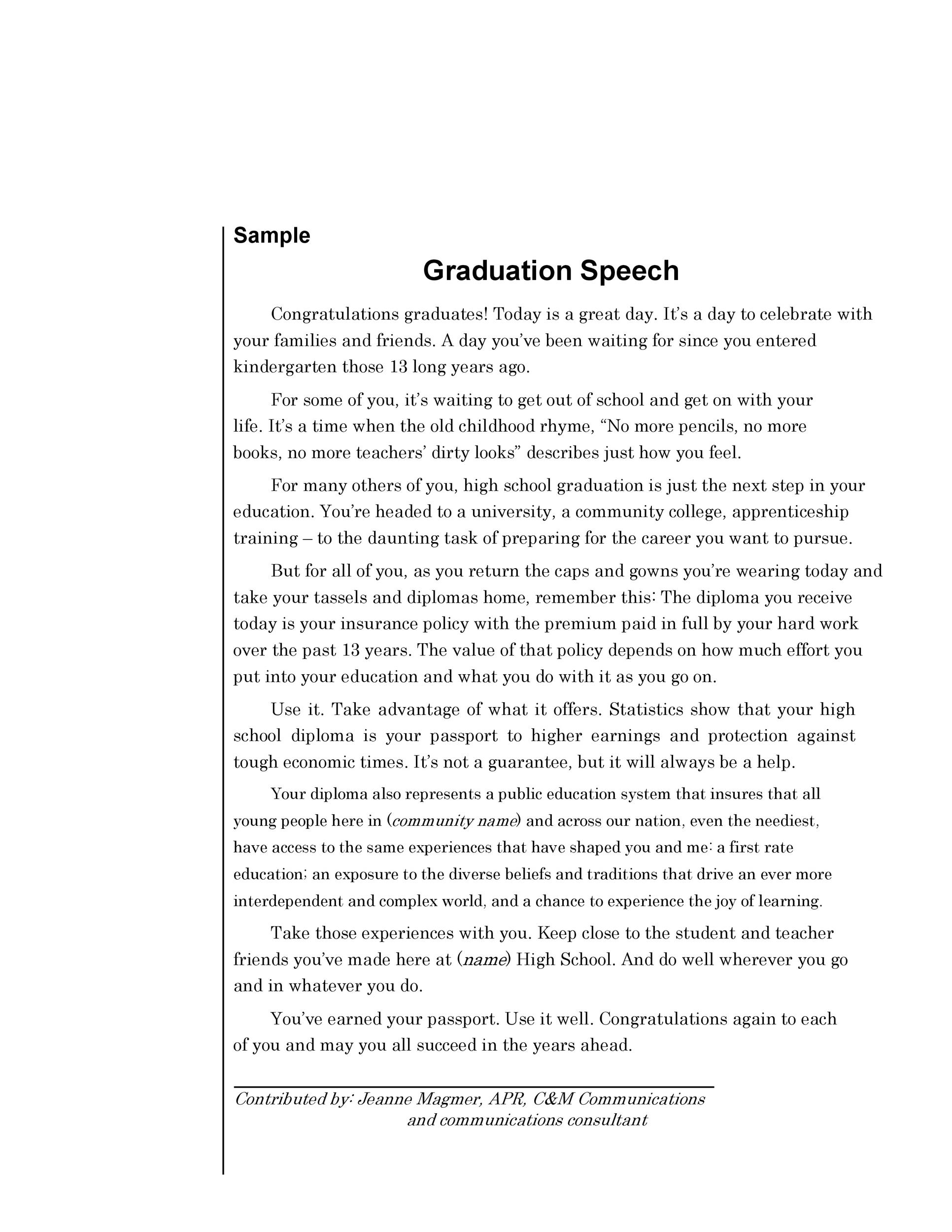 Free graduation speech example 01