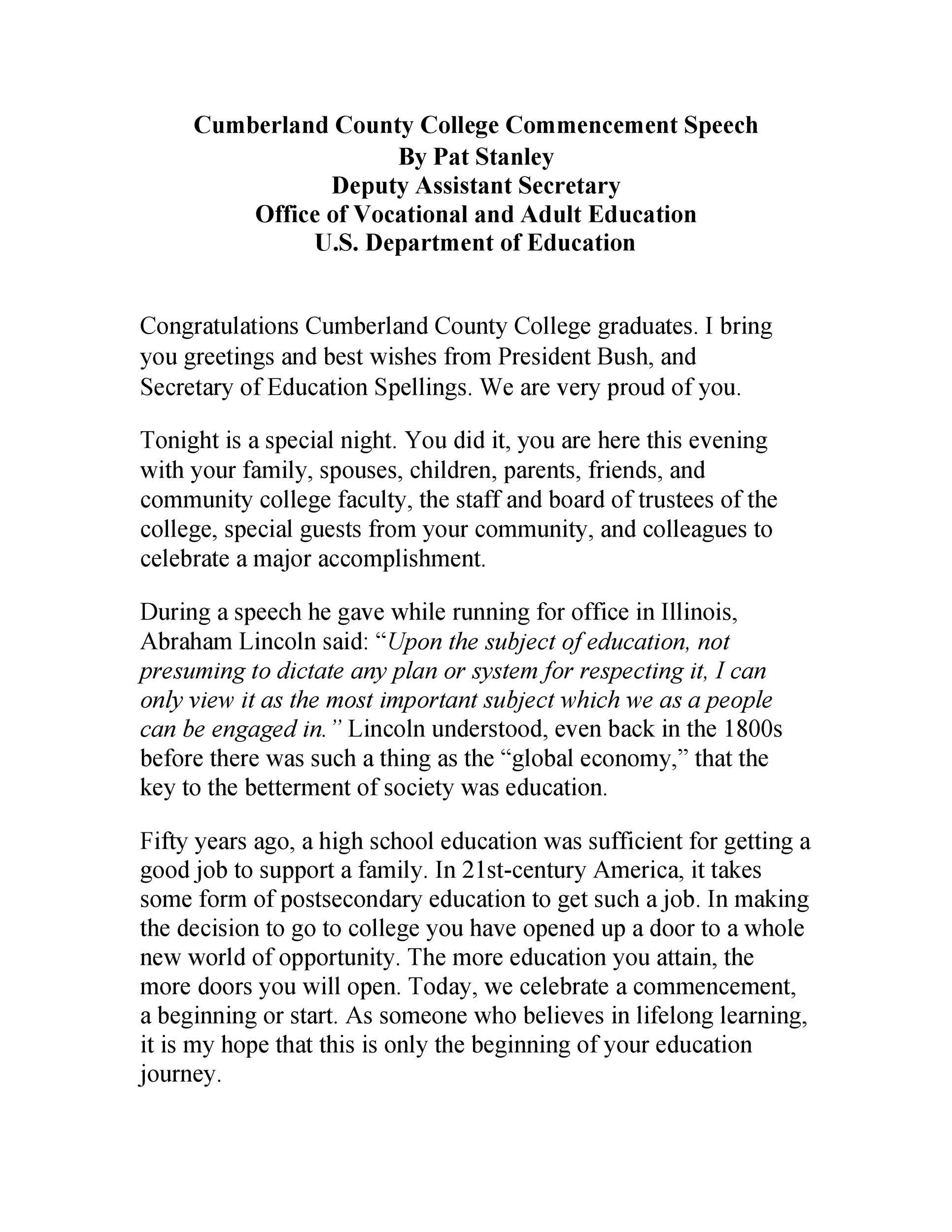 Free graduation speech example 06